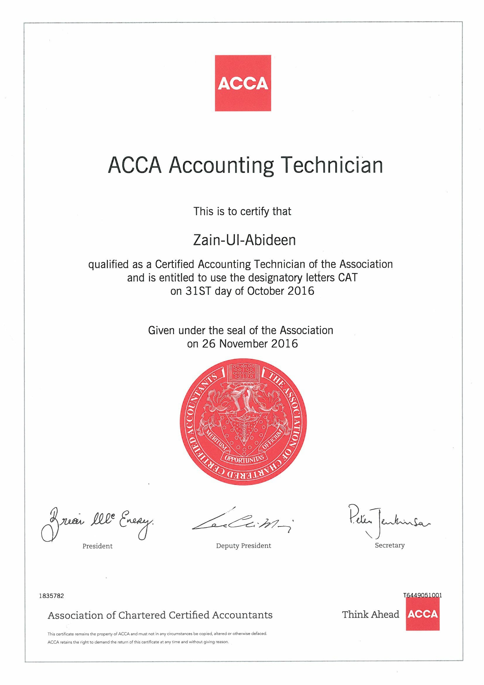 Zain ul abideen bayt cat certified accounting technician secured 83 aggregate marks in 1st attempt xflitez Images