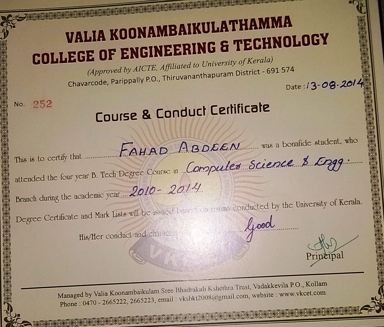 Fahad abdeen bayt btech in computer science and technology course completed xflitez Gallery