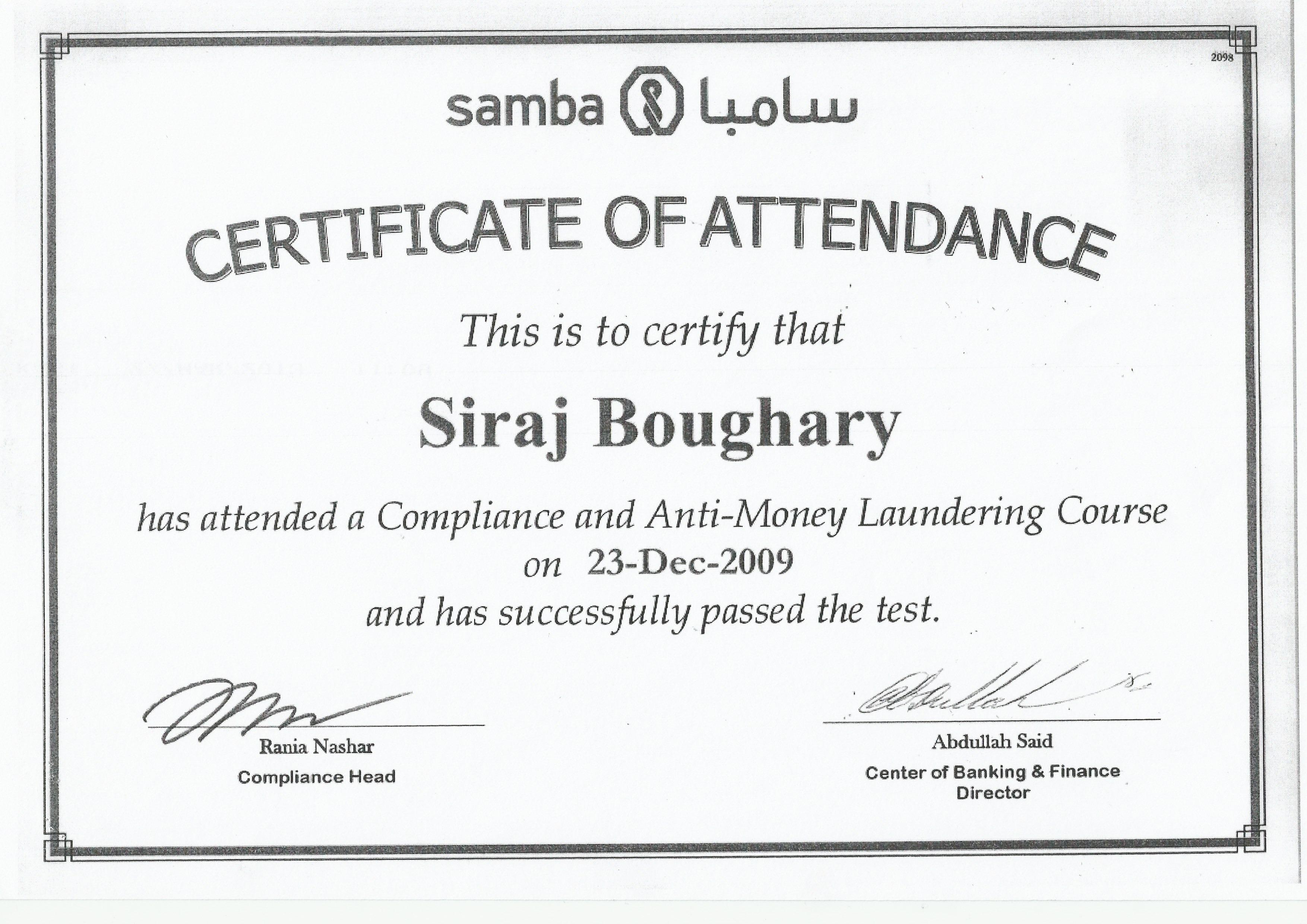Siraj bougary bayt compliance anti money landry course certificate 1betcityfo Choice Image