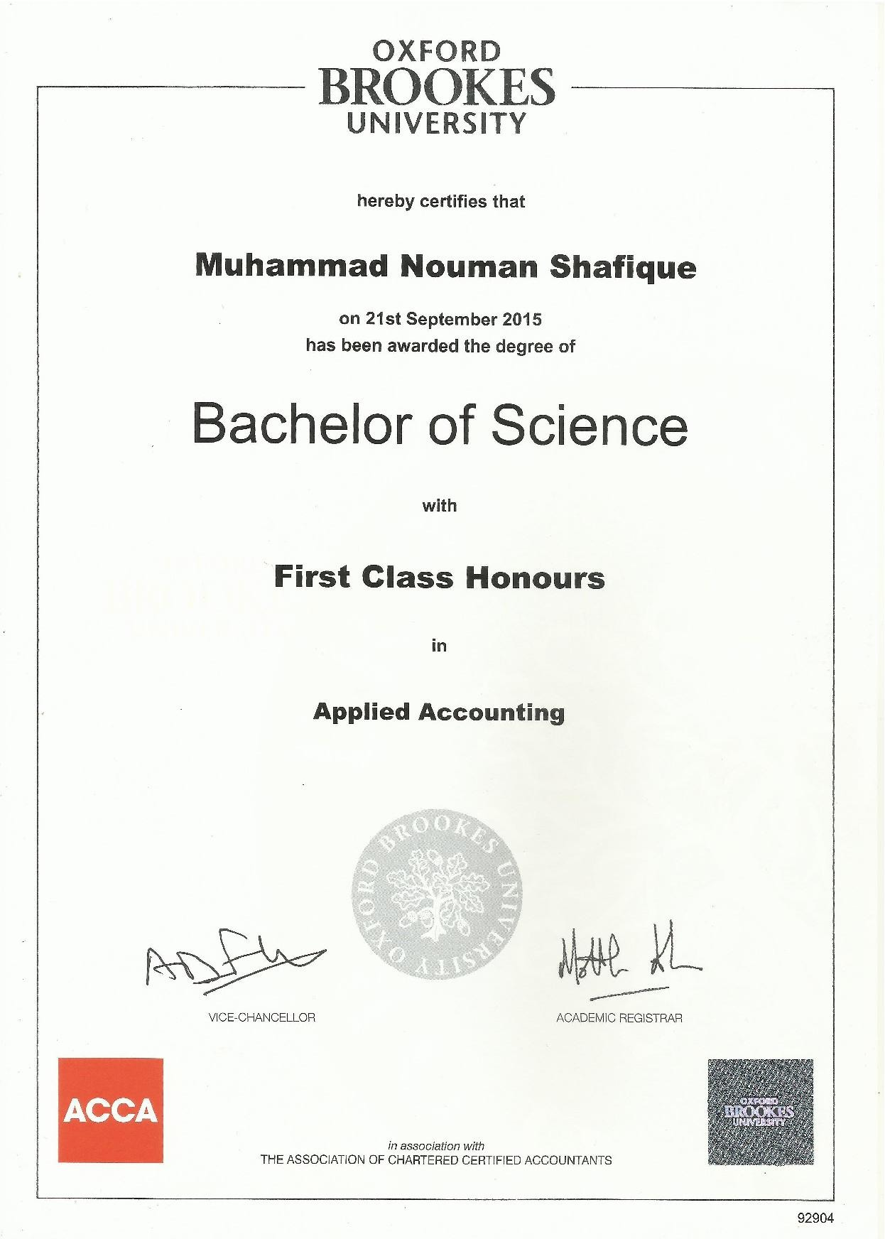 muhammad nouman shafique awan bayt com successfully completed the program first class honor s degree