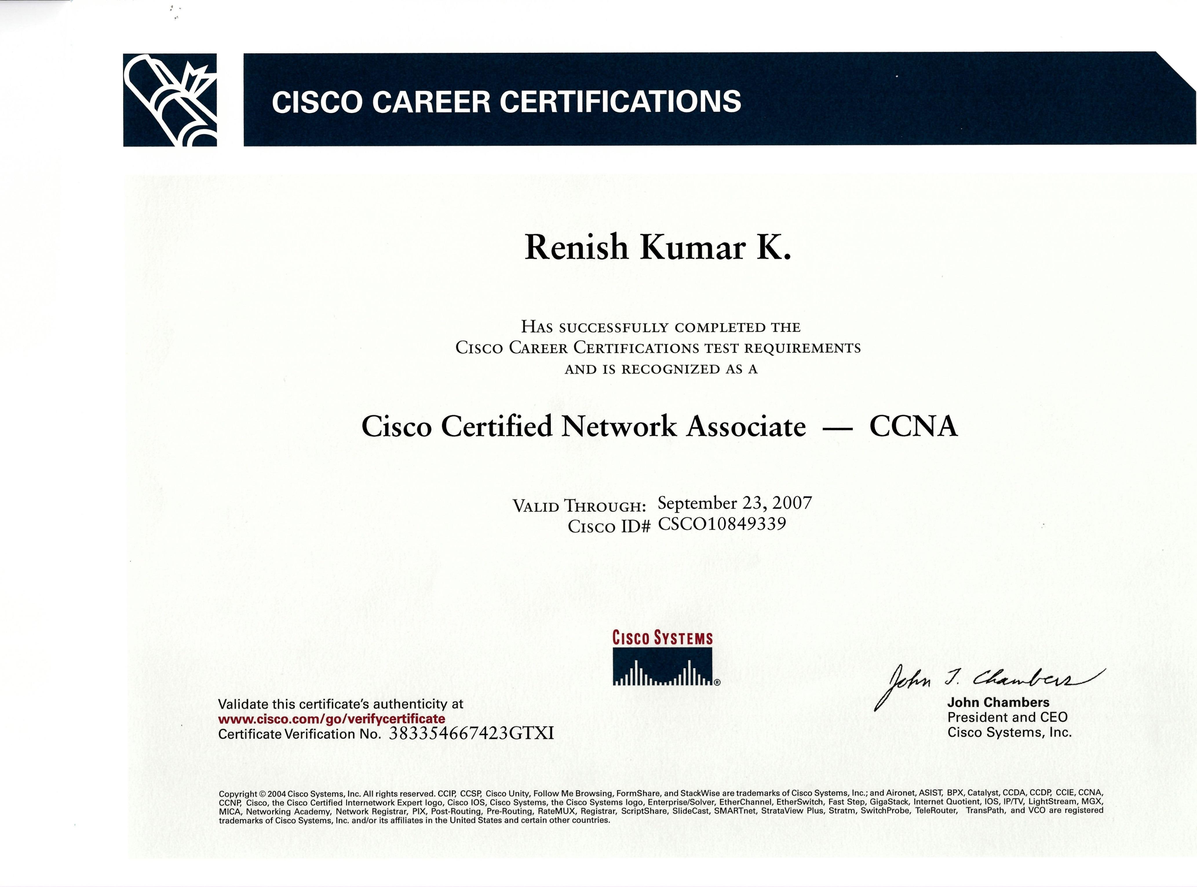 Renish kumar kuniyil bayt ccna certificate xflitez Gallery
