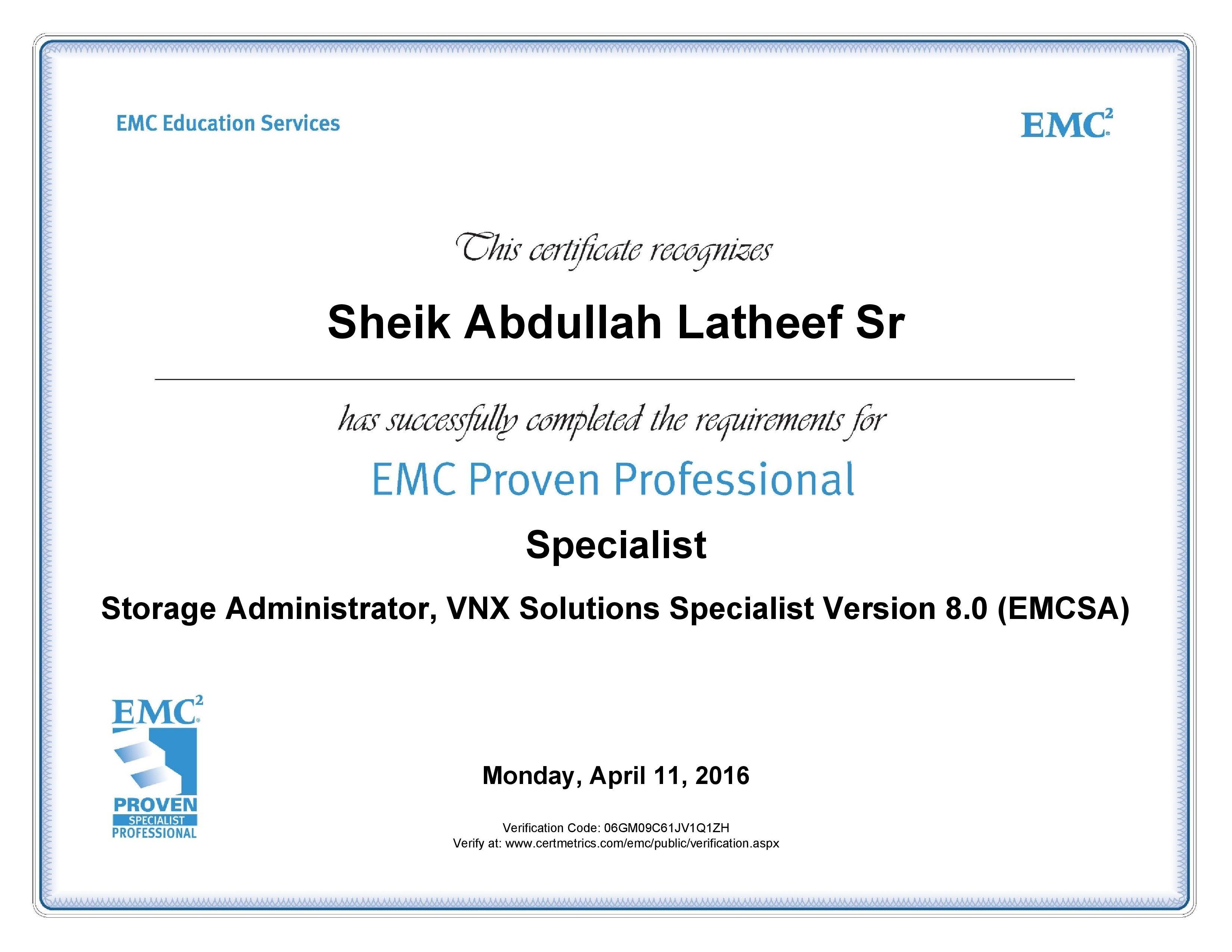 emc storage administrator resume sample