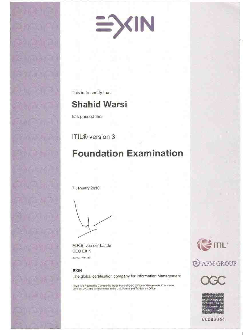 Shahid warsi bayt itil v3 foundation certificate in it service management xflitez Choice Image