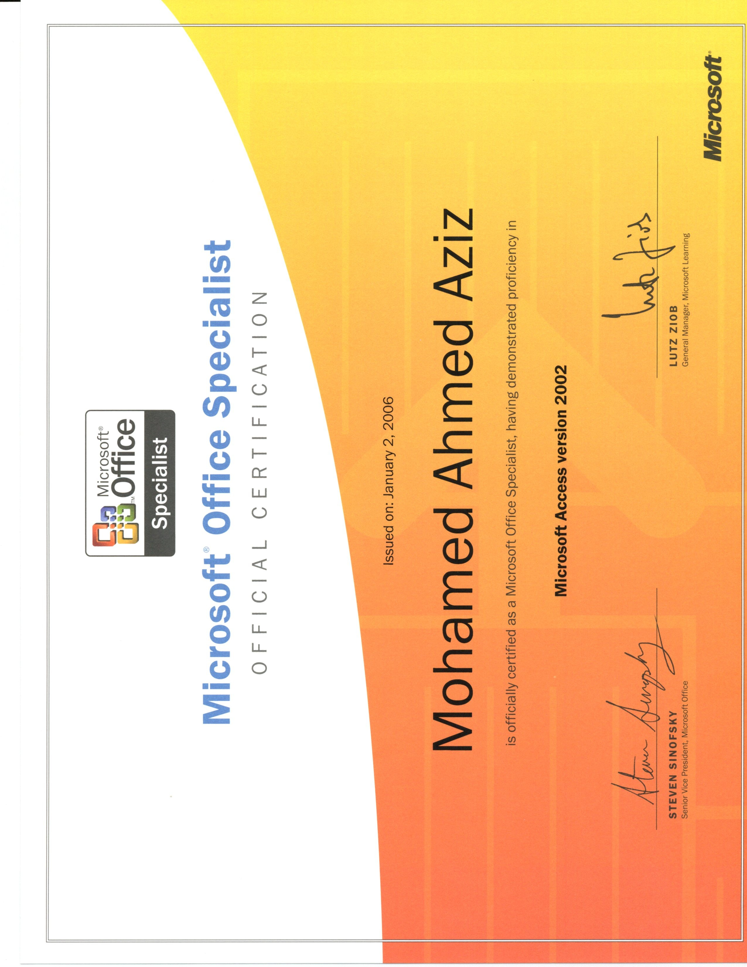 Mohamed aziz bayt microsoft office access certificate 1betcityfo Image collections