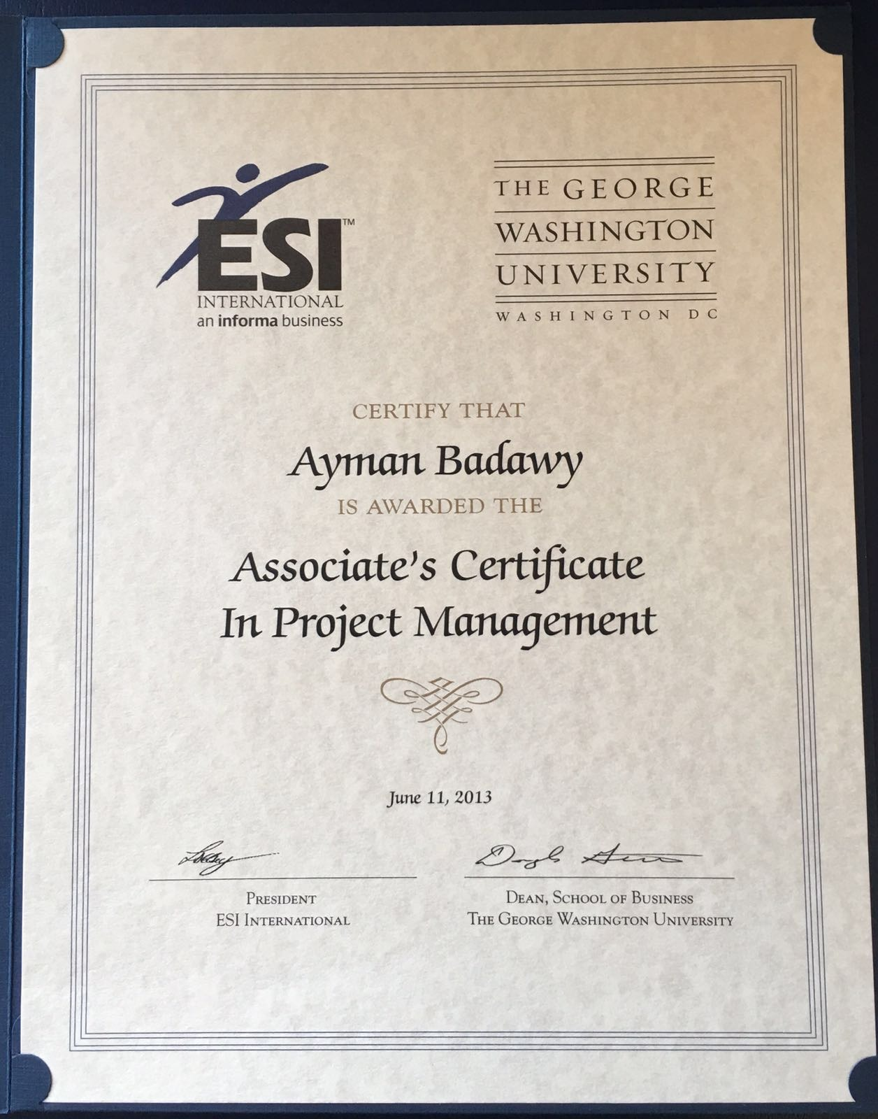 Ayman badawy bayt associates certificate in project management certificate 1betcityfo Images