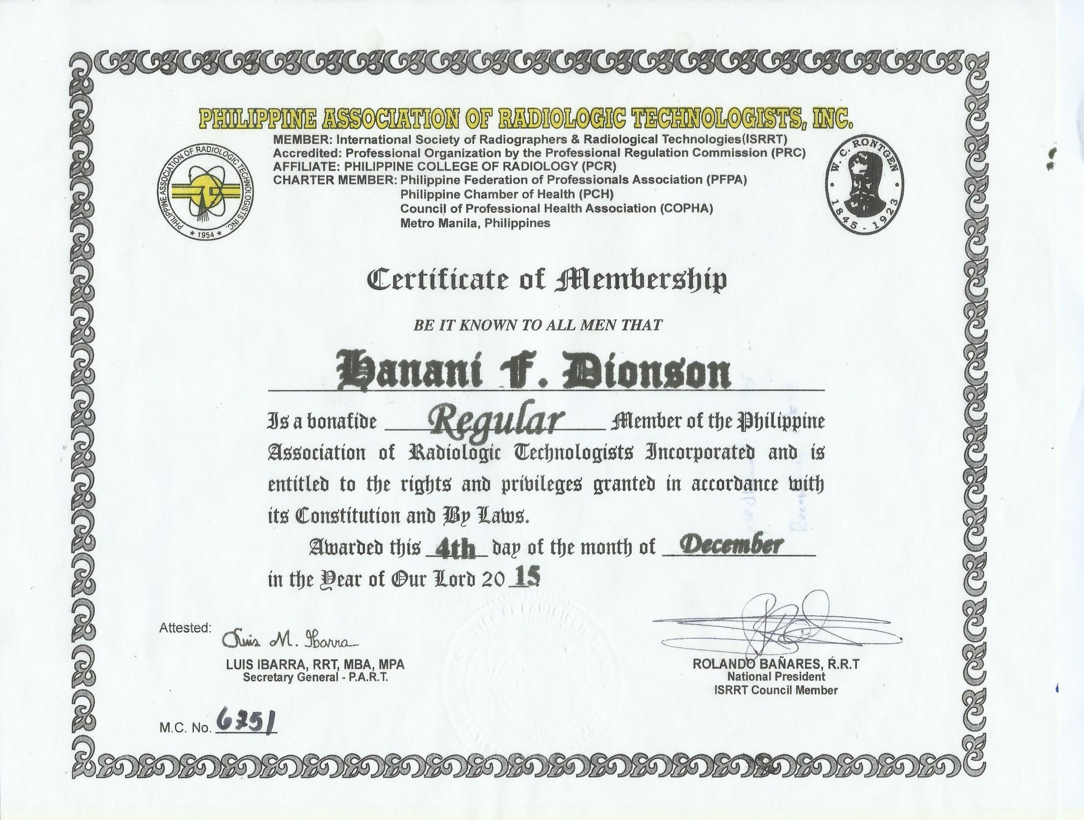 Hanani dionson bayt philippine association of radiologic technologist membership certificate 1betcityfo Image collections