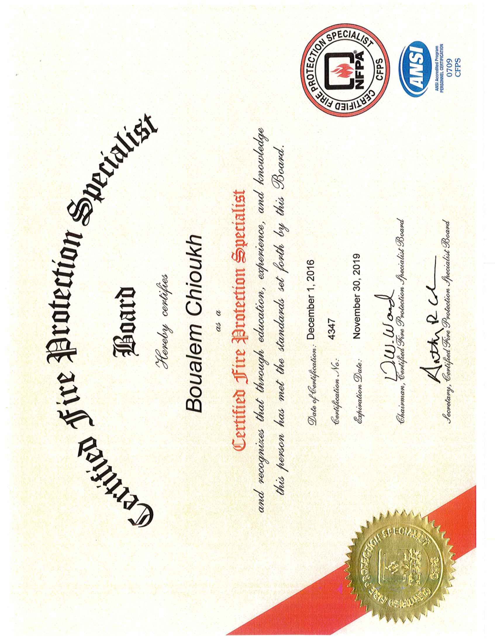 Boualem chioukh bayt nfpa certified fire protection specialist certificate xflitez Image collections