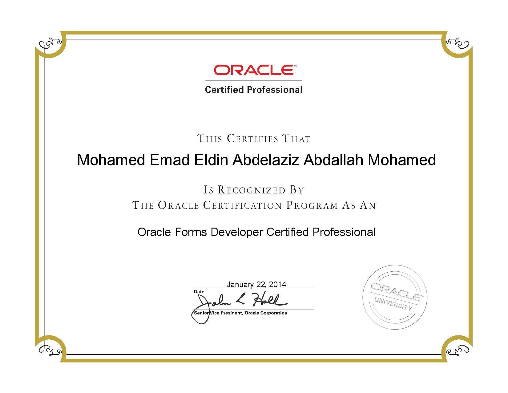 Mohamed emad eldin abdelaziz abdallah mohamed bayt oracle forms developer certified professional ocp certificate xflitez Image collections