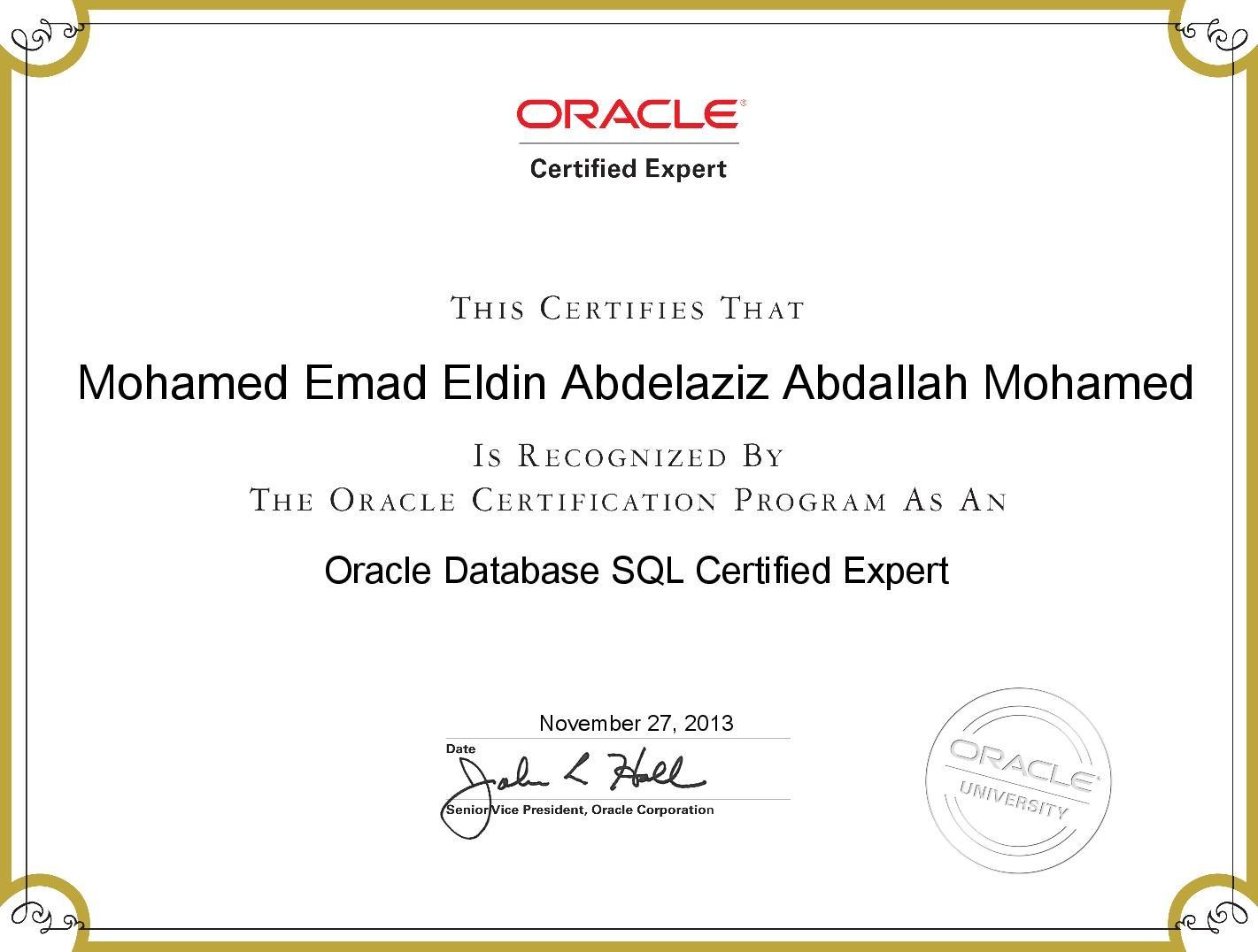 Mohamed emad eldin abdelaziz abdallah mohamed bayt oracle database sql certified expert certificate 1betcityfo Image collections