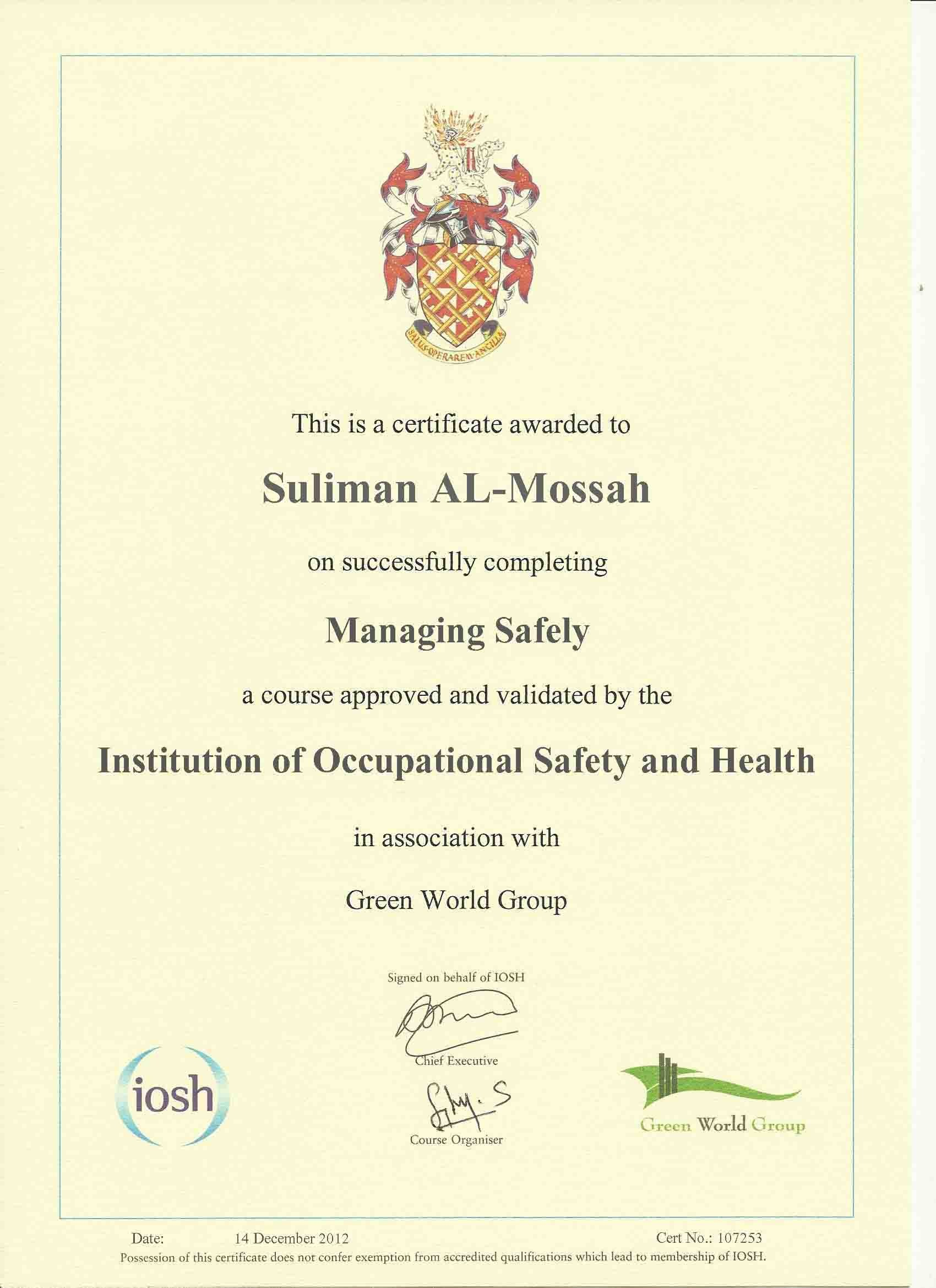 Suliman al mossah for H2s certification card template