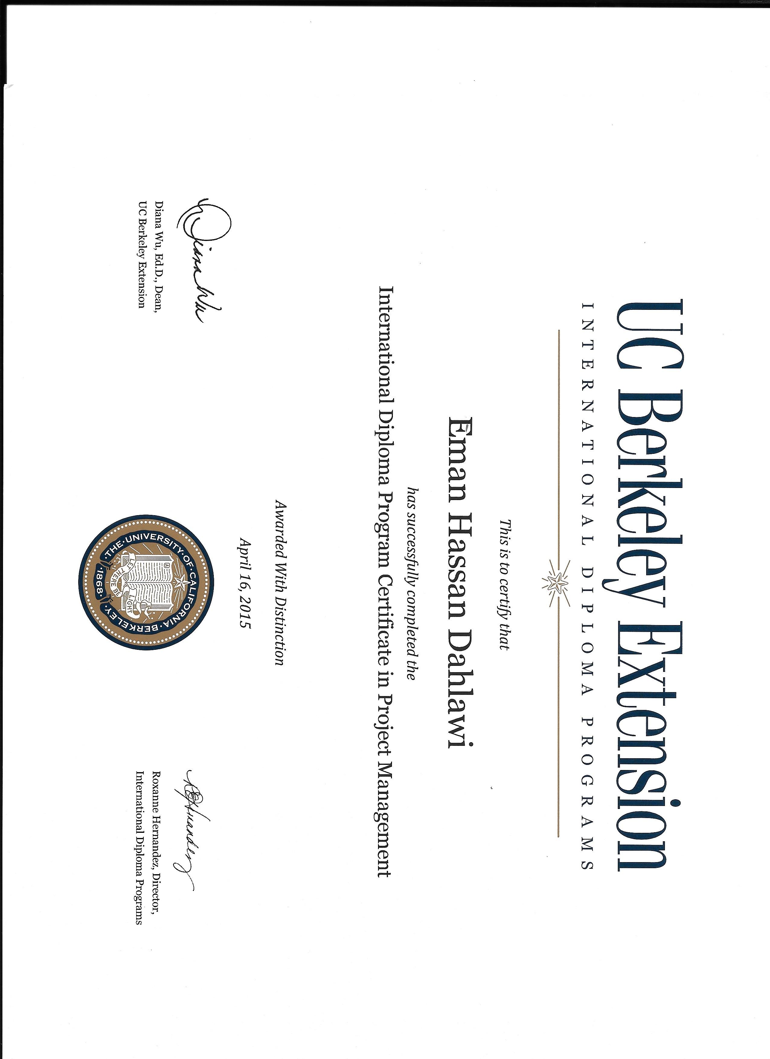 Free Professional Resume Uc Berkeley Certificate Programs