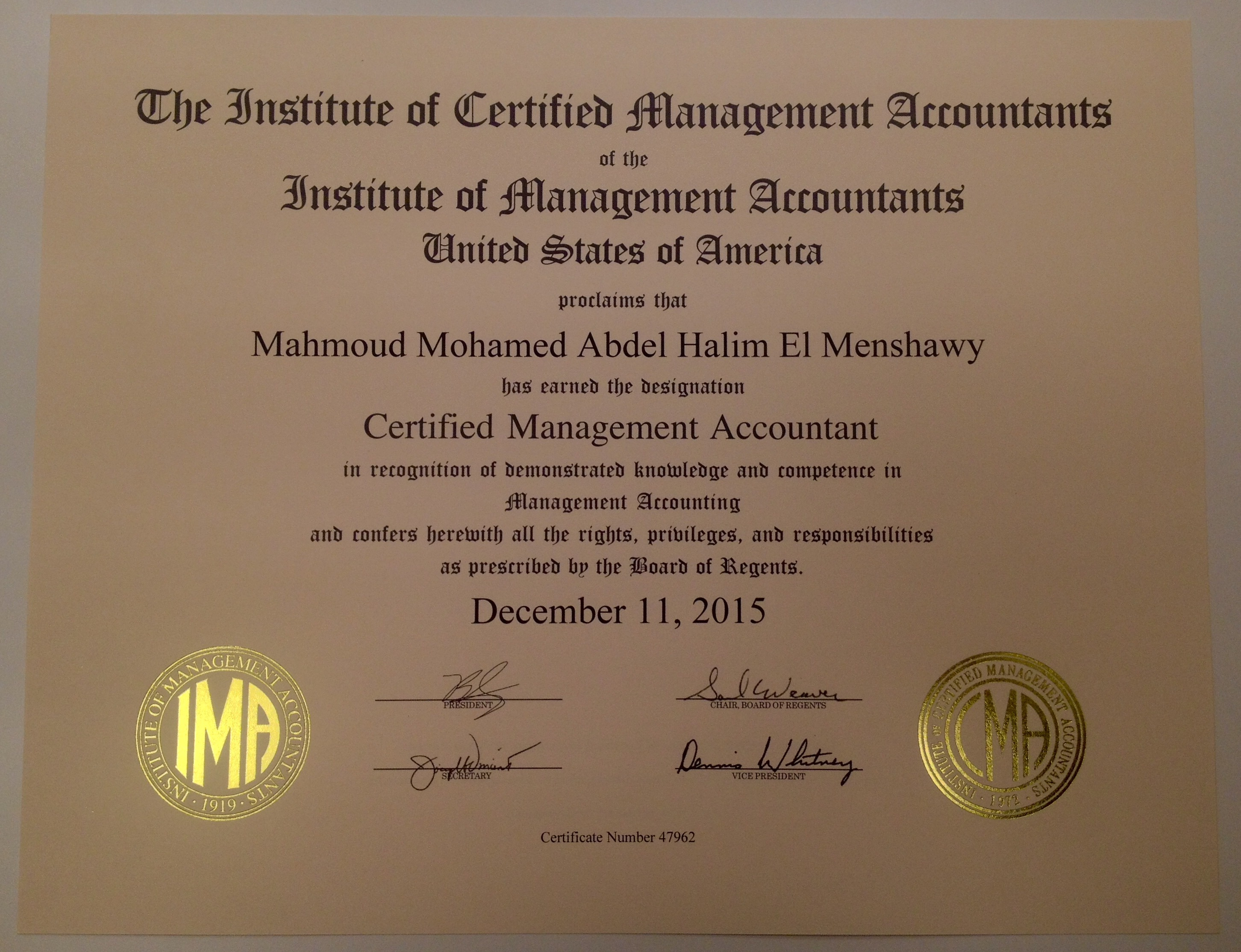Mahmoud el menshawy bayt certified management accountant cma certificate 1betcityfo Image collections