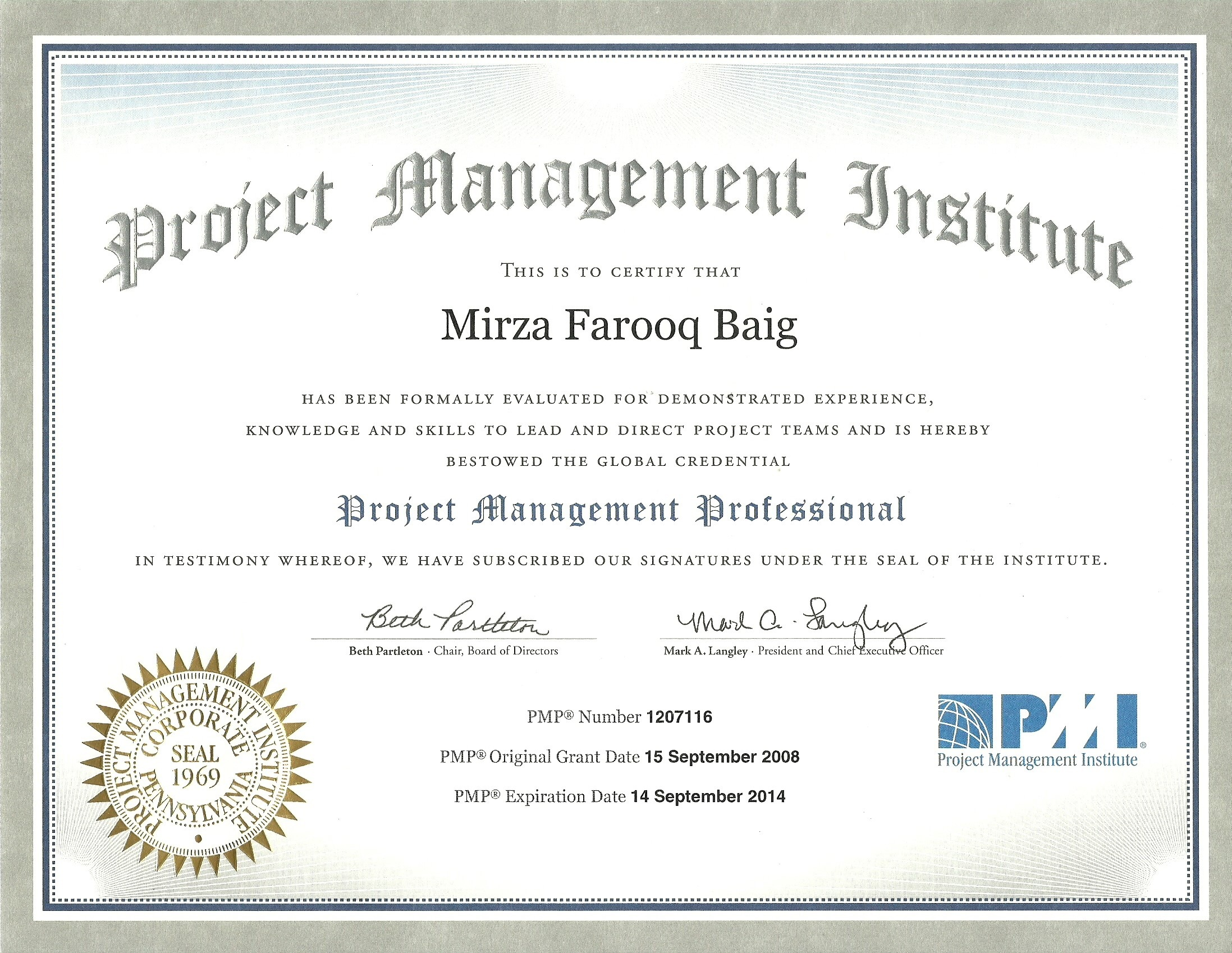 Mirza farooq baig bayt project management professional pmp certificate xflitez Choice Image