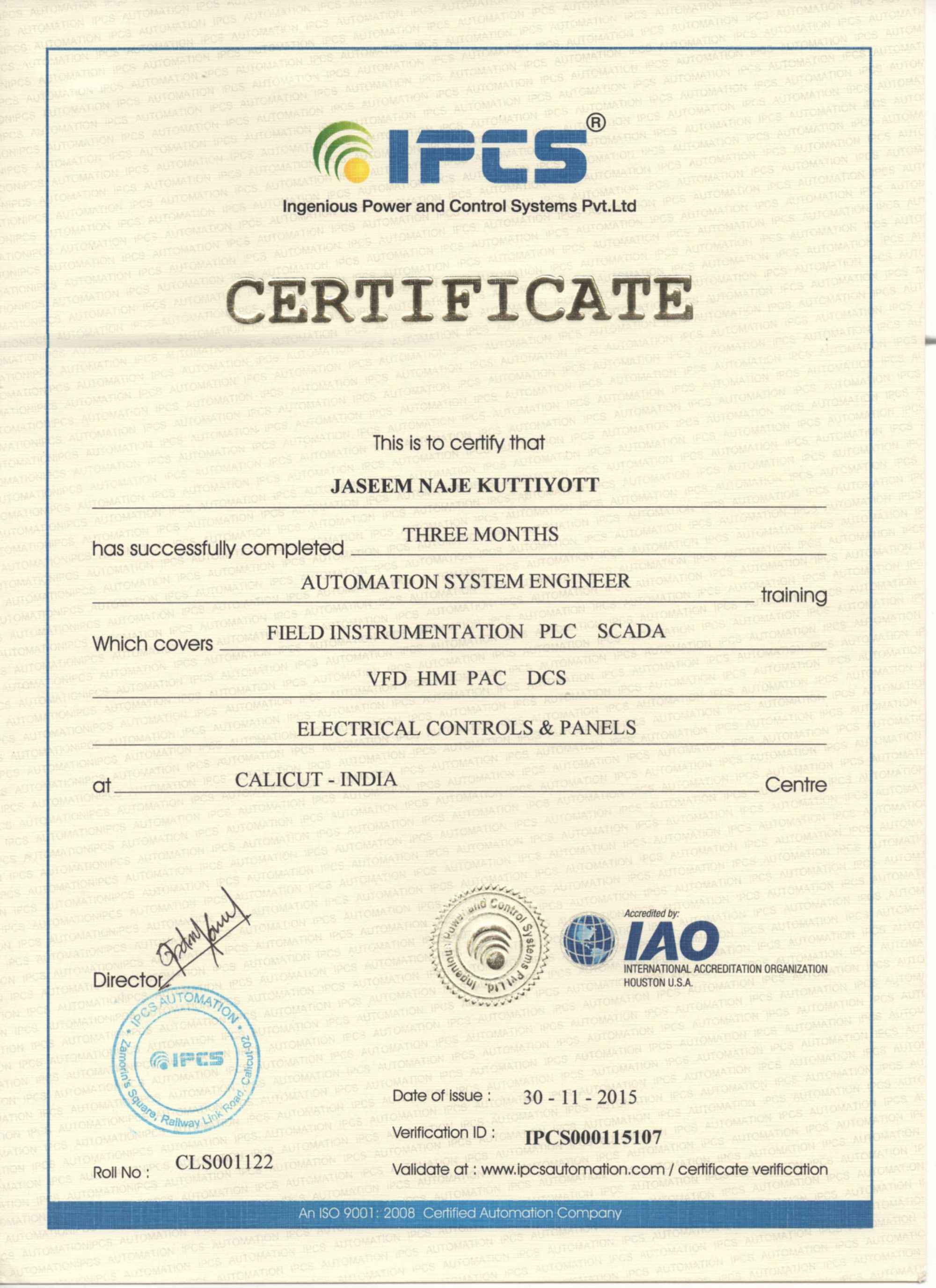 Jaseem naje kuttiyott bayt automation system engineer certificate xflitez Choice Image