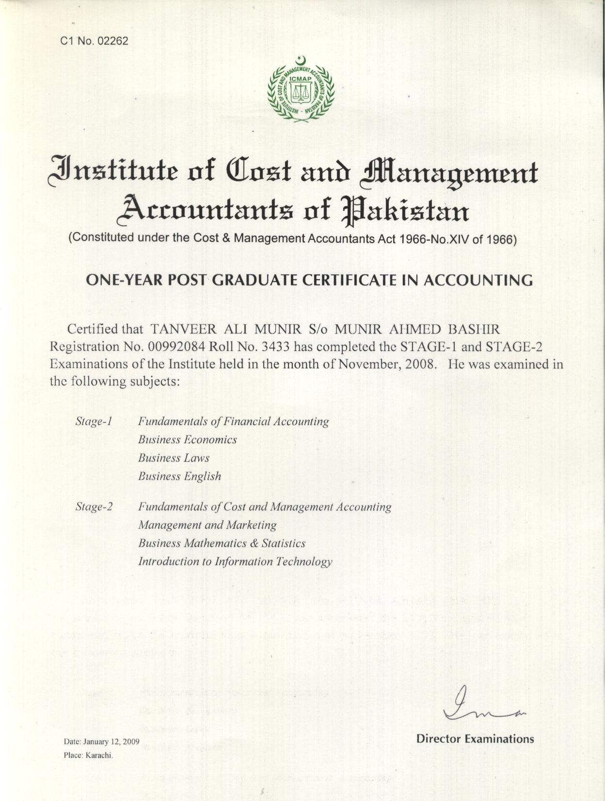 Tanveer ali bayt one year post graduate certificate in accounting certificate xflitez Images