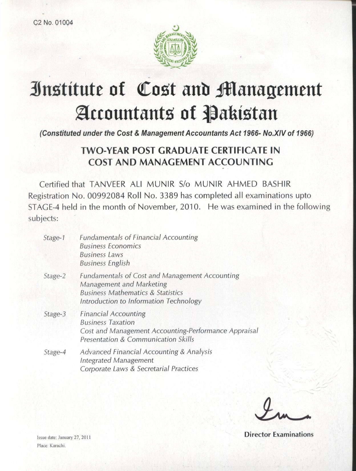 Tanveer ali bayt two year post graduate certificate in accounting certificate xflitez Images