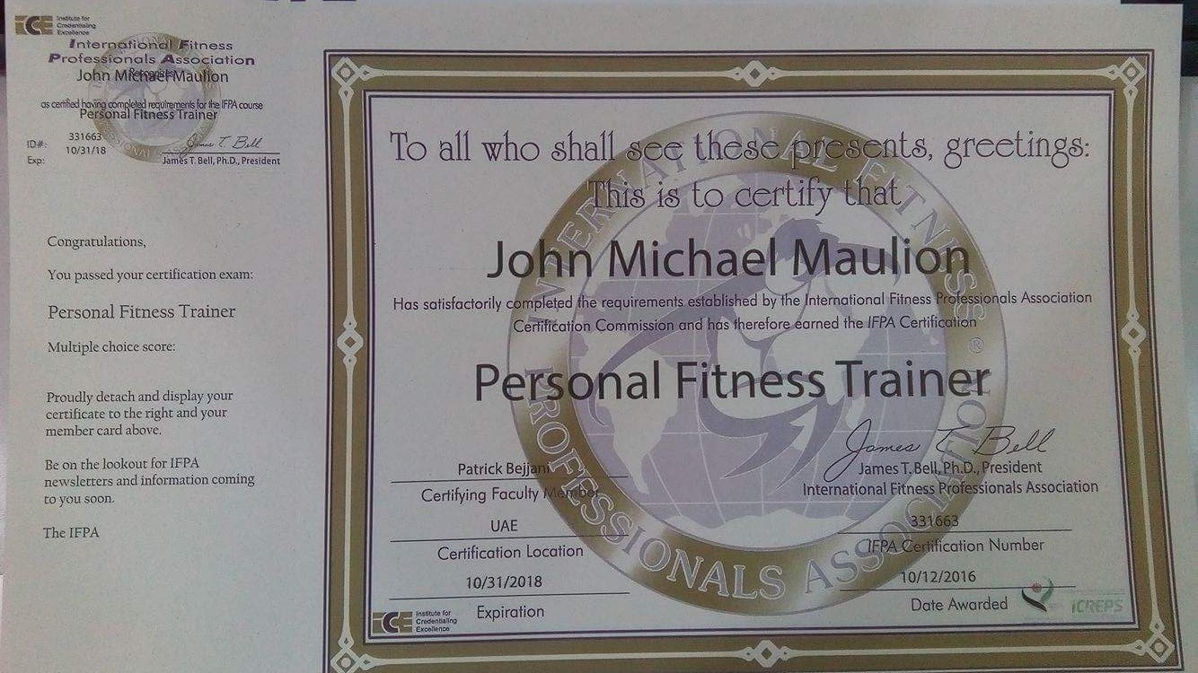 John michael maulion bayt international fitness professionals association ifpa personal training certification course leve certificate 1betcityfo Image collections