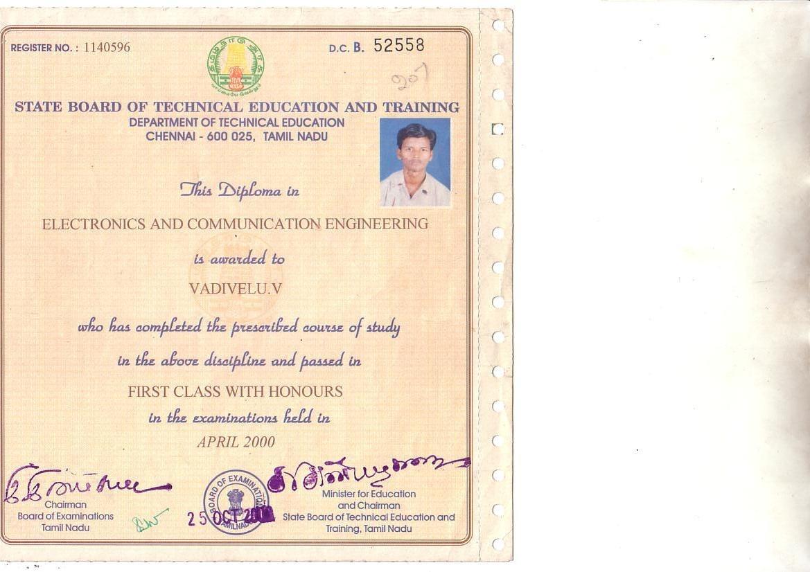 venkatesan vadivelu bayt com at diploma in electronics and communication engineering