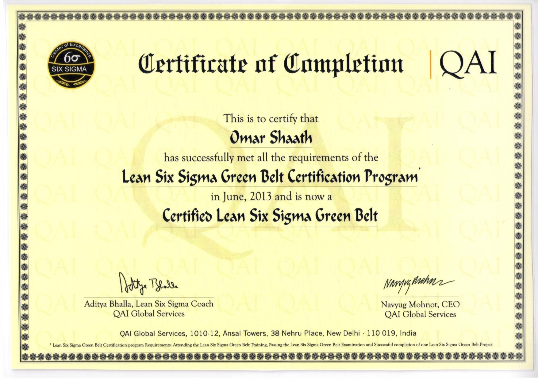Omar shaath bayt certified lean six sigma green belt certificate xflitez Images