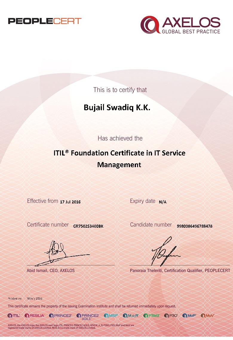 Bujail swadiq kumbalakuzhiyan bayt itil foundation certificate in it service management 2011 certificate xflitez Gallery
