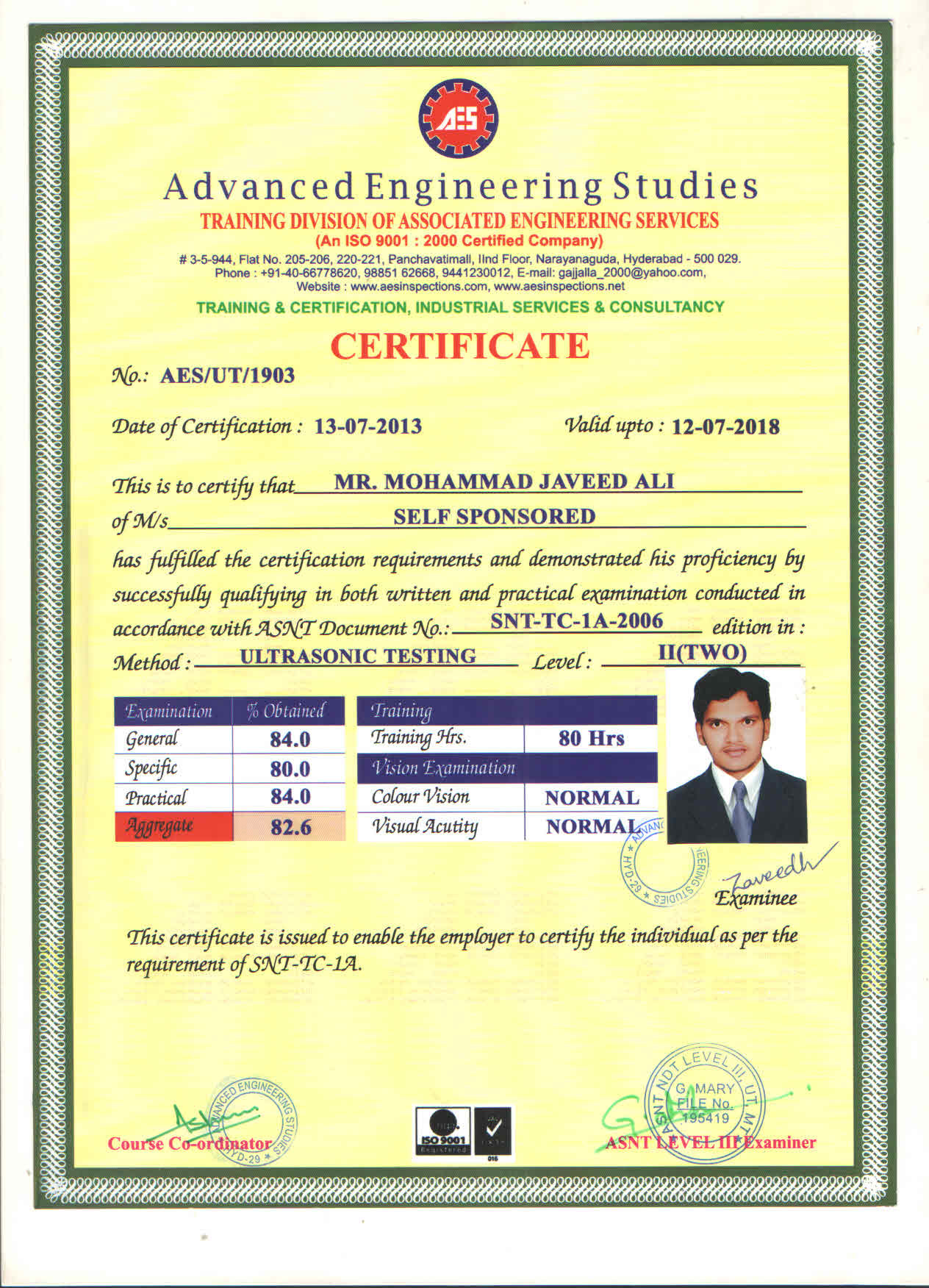 Javeed ali mohammad bayt asnt ndt level 2 ut certificate 1betcityfo Gallery