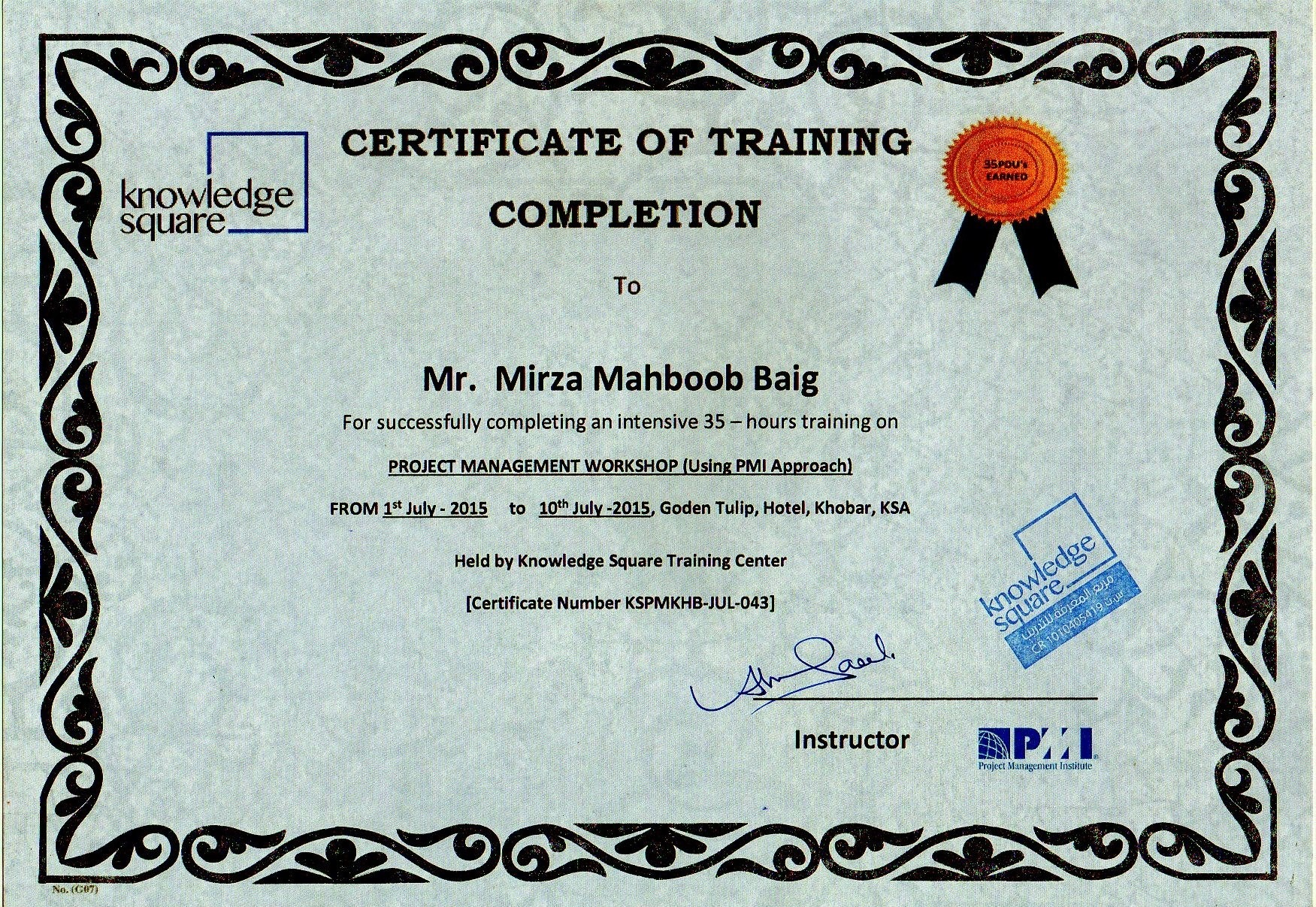 Mirza mahboob baig pmp lssgb msc bayt training institute knowledge square 1betcityfo Gallery