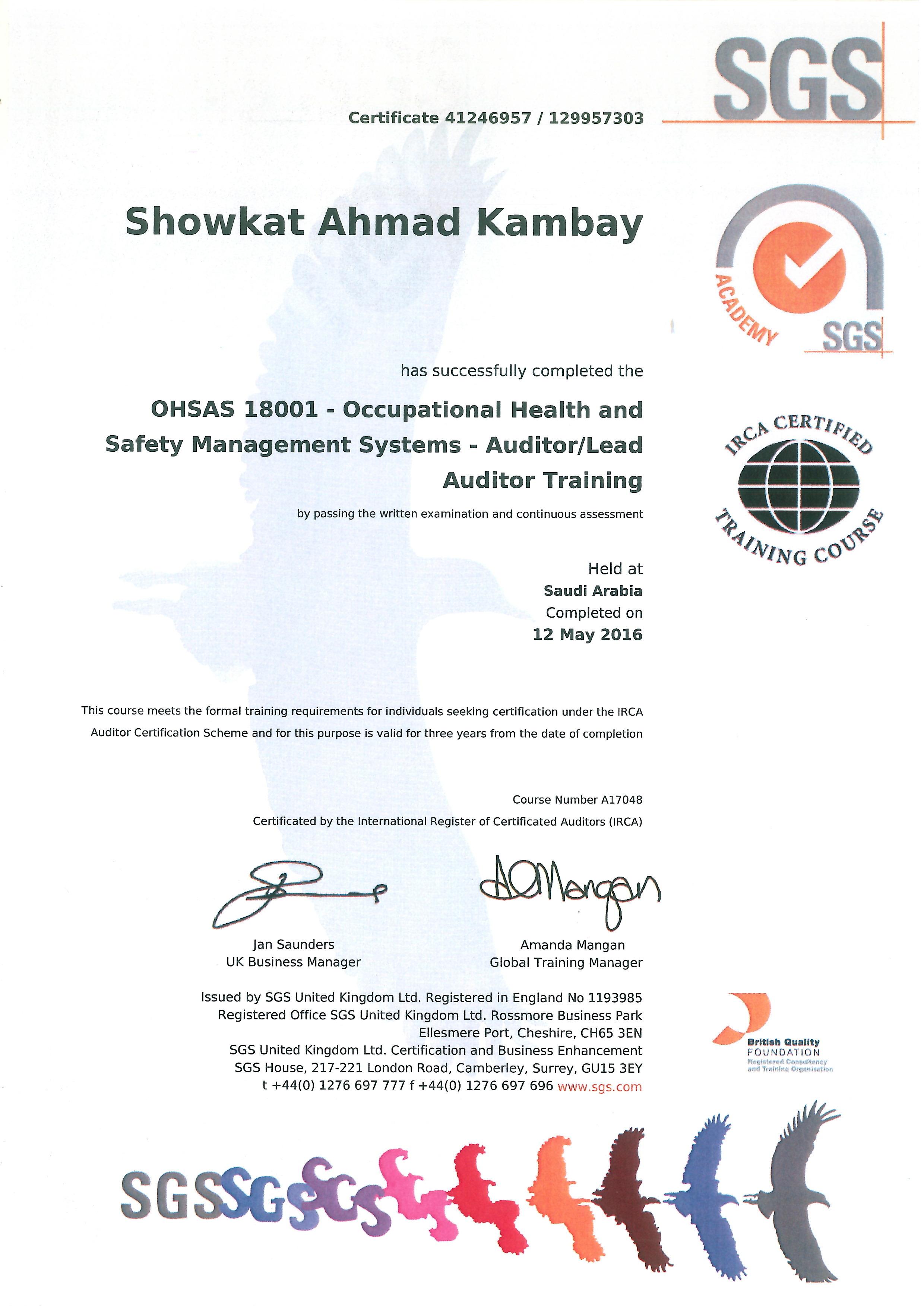 Showka showkat ahmad kambay bayt ohsas lead audit course certificate 1betcityfo Gallery