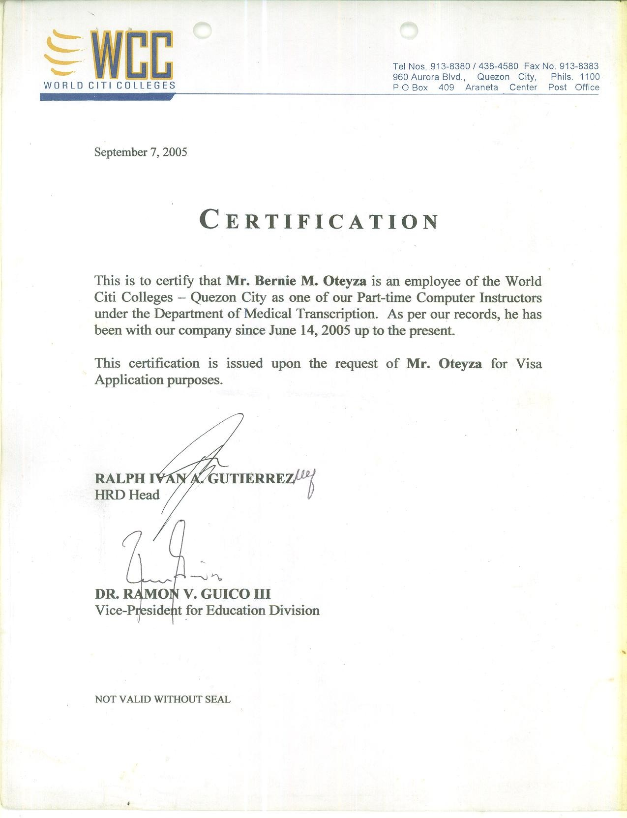 Bernie oteyza bayt certificate of employment certificate xflitez Image collections