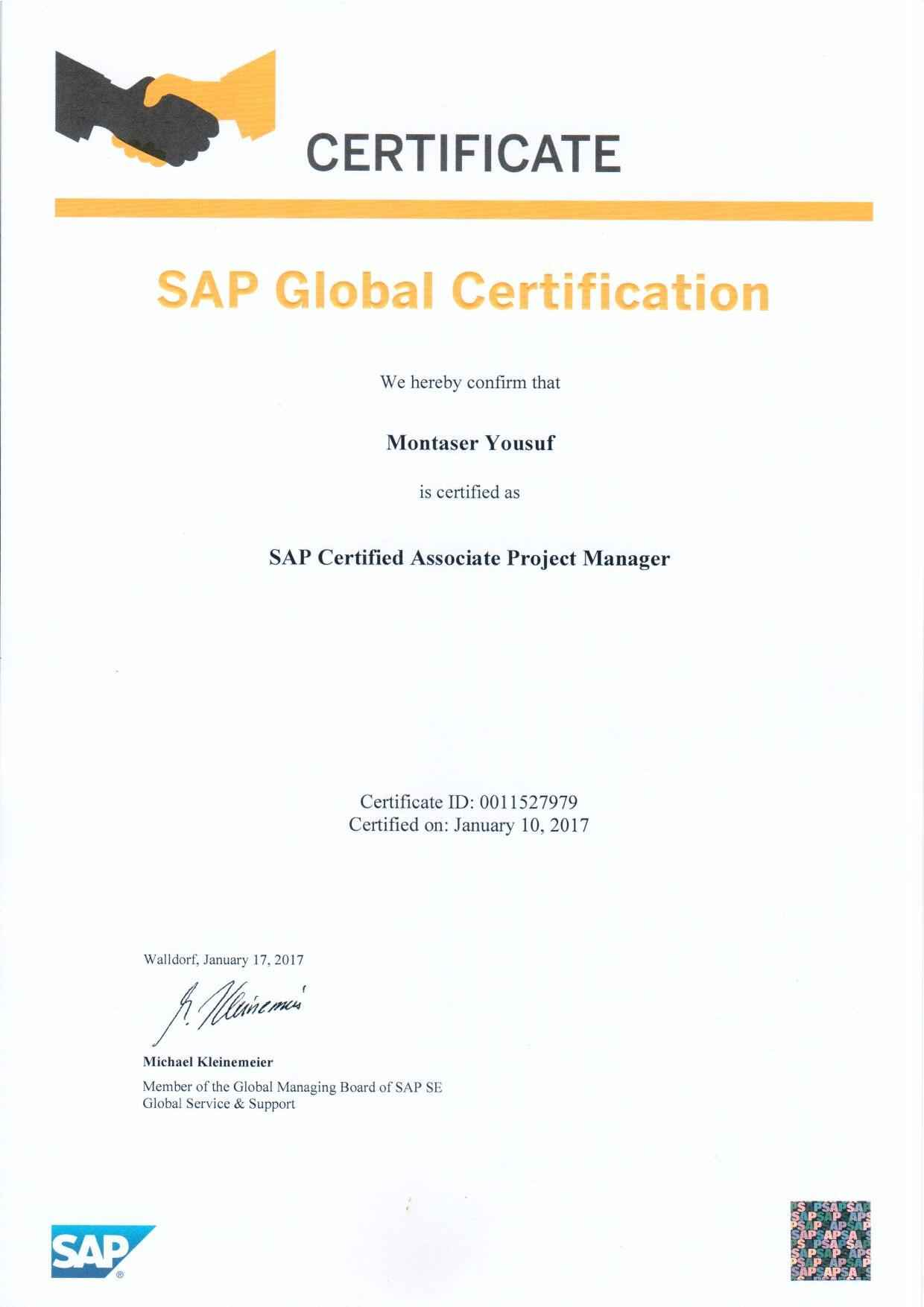 Montaser yousuf bayt sap certified projects manager certificate 1betcityfo Choice Image