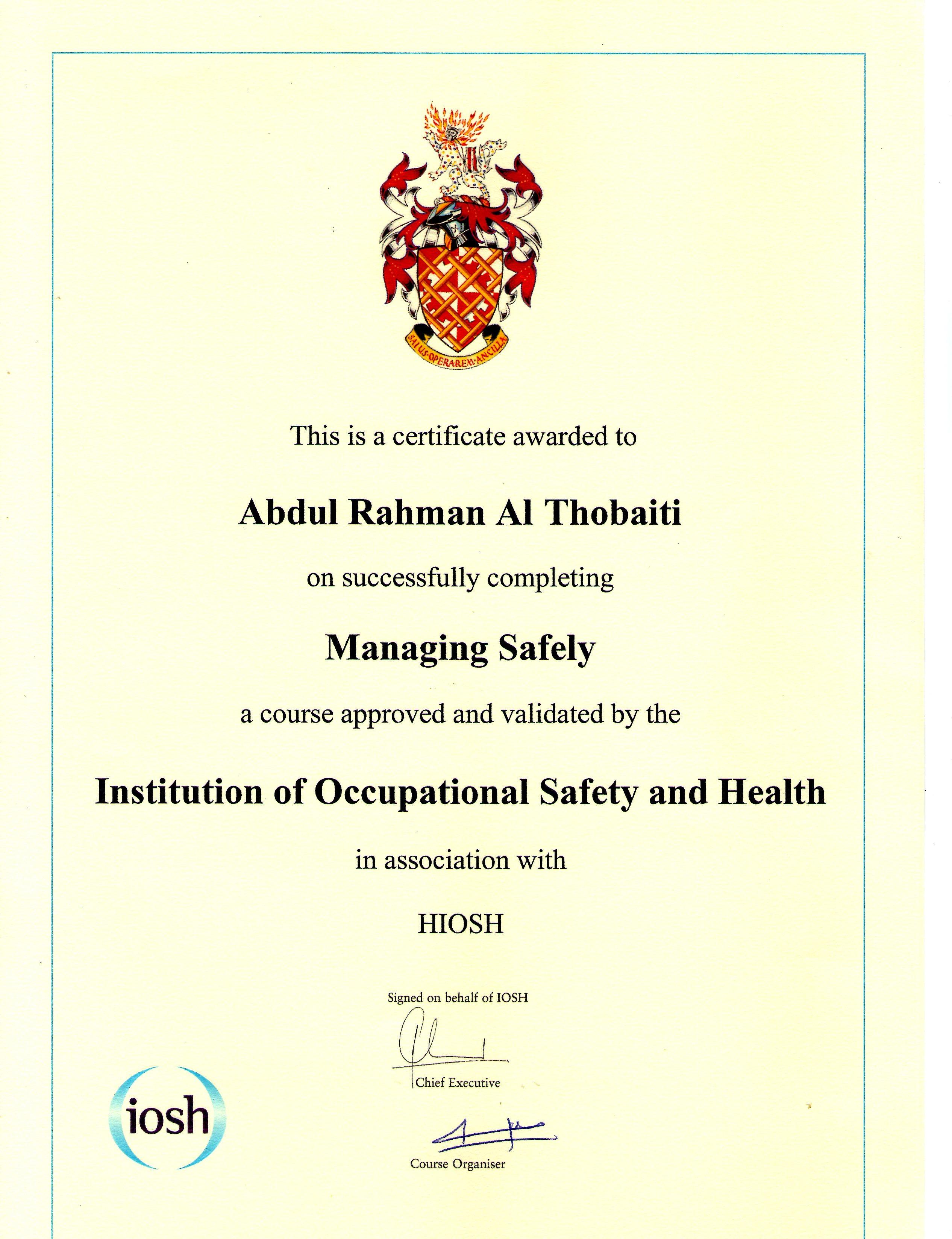 Abdulrahman althobaiti bayt iosh certificate managing safely certificate xflitez Choice Image