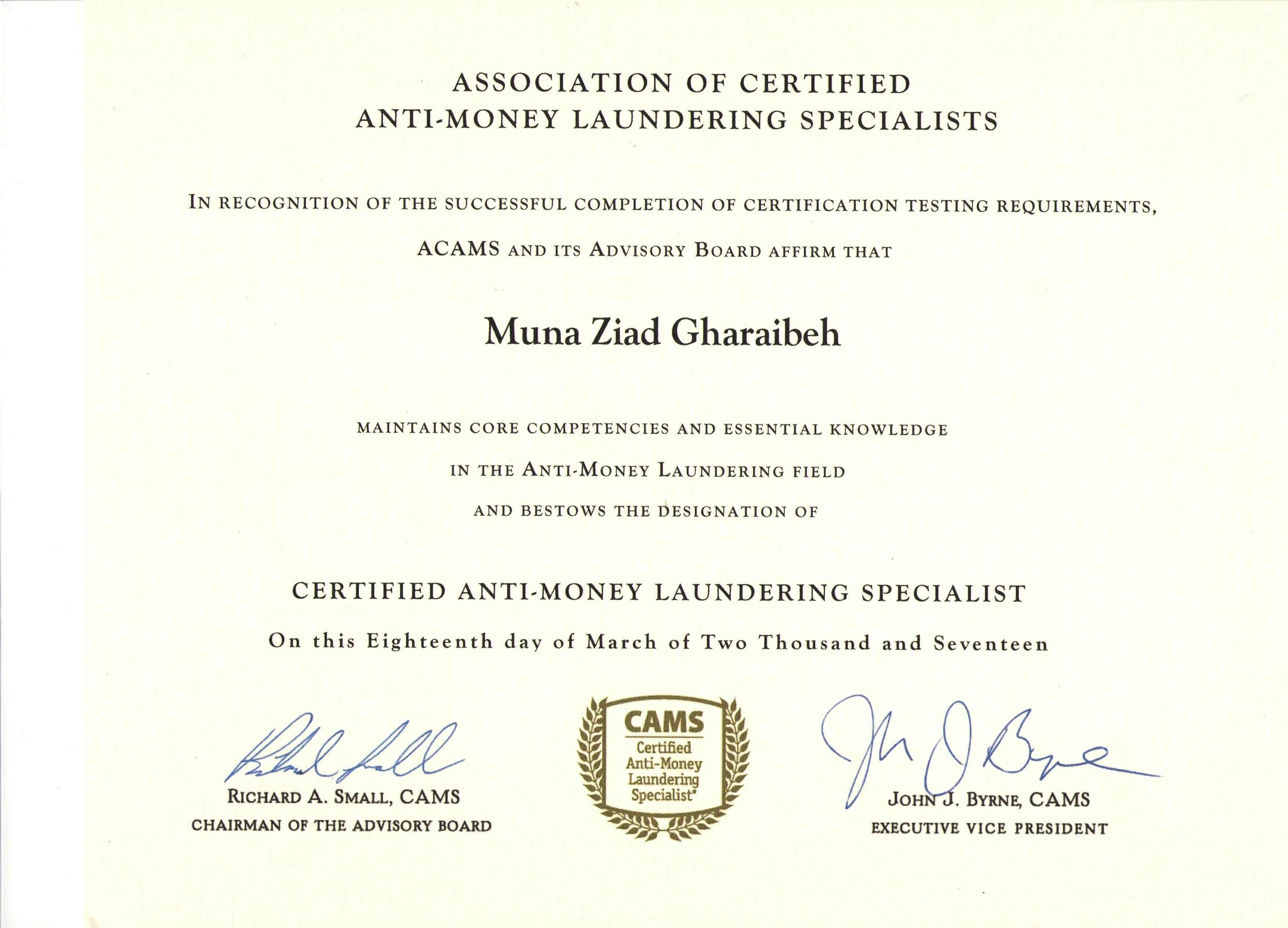 Muna ziad bader al deen gharaibeh bayt certified anti money laundering specialist cams certificate 1betcityfo Choice Image