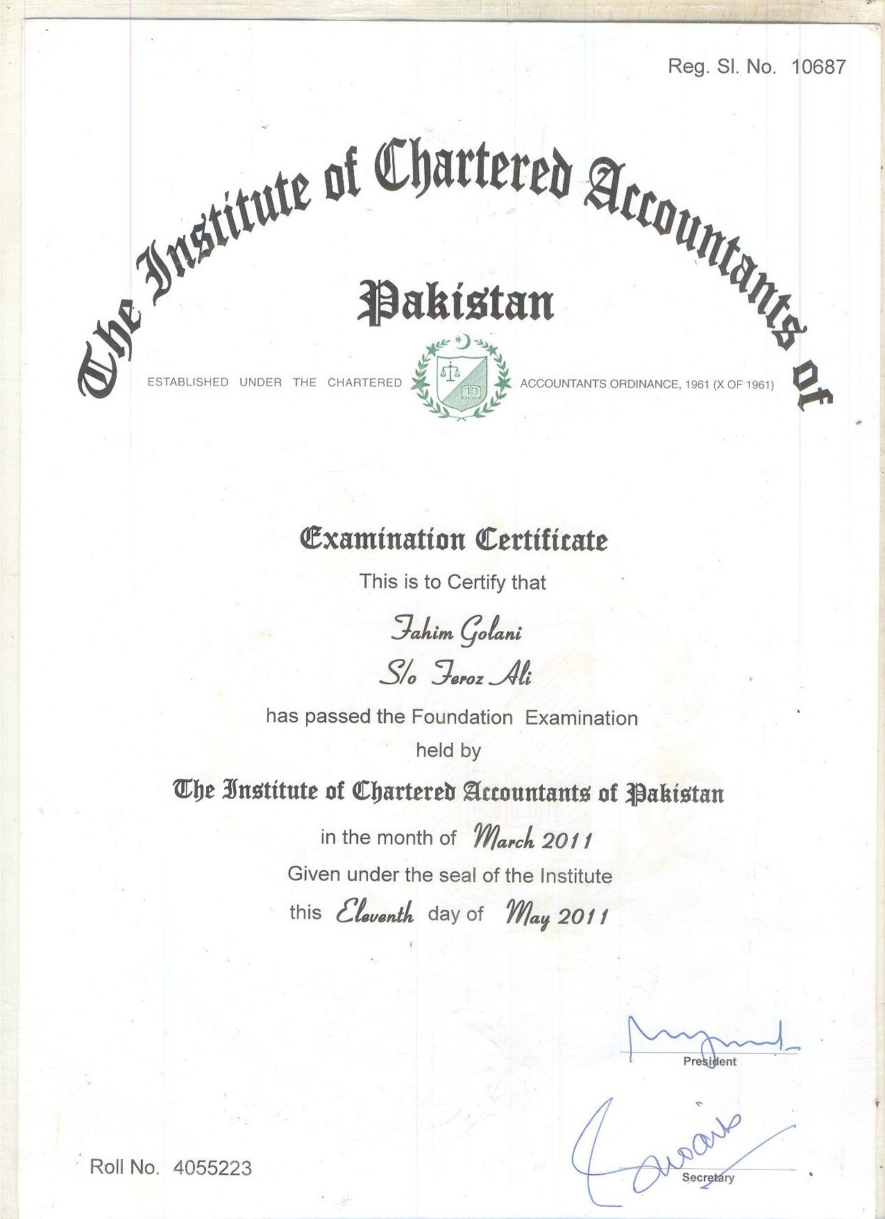 Fahim feroz bayt chartered accountant foundation certificate certificate xflitez Images