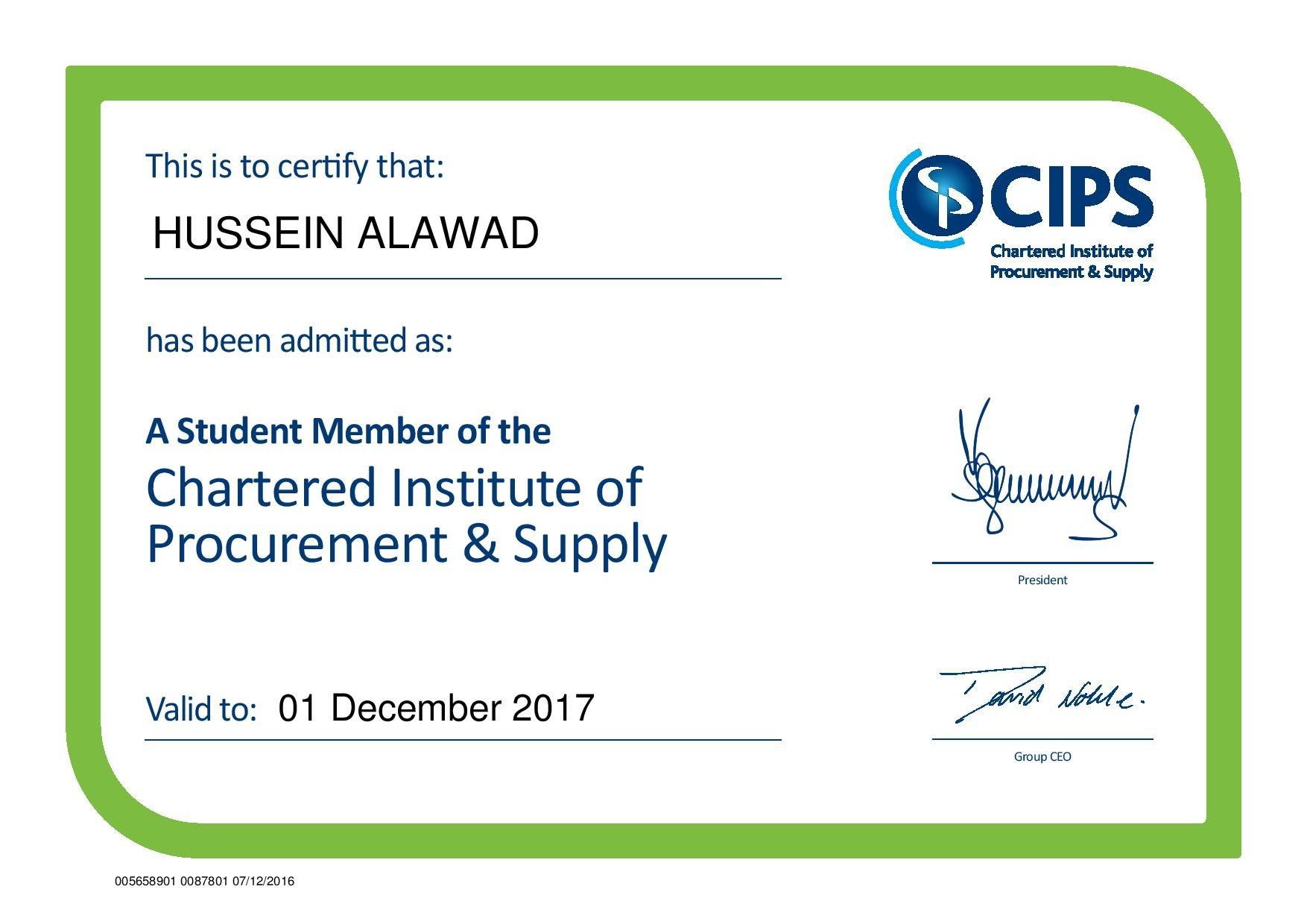 Hussein al awad bayt a student member of the chartered institute of procurement supply cips certificate 1betcityfo Gallery