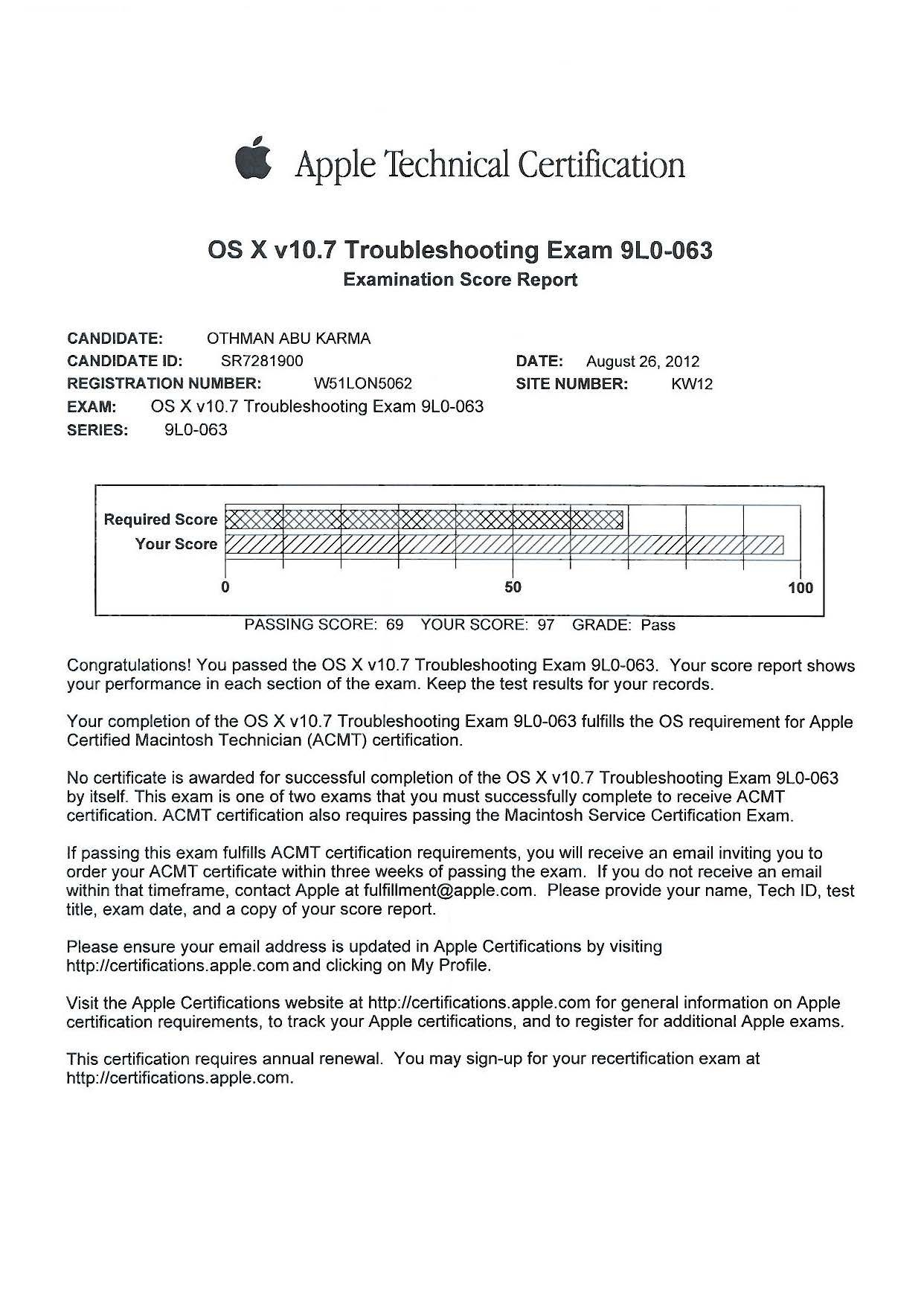 Othman abu karma bayt apple certified macintosh technician acmt certificate 1betcityfo Gallery