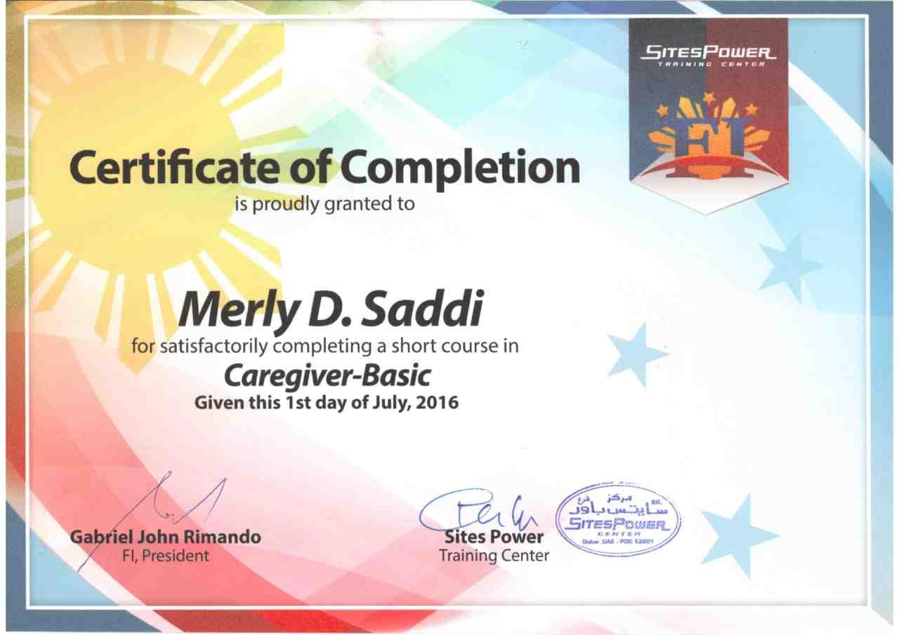 Merly saddi bayt caregiver certificate with khda approval by filipino institute dubai 1betcityfo Choice Image
