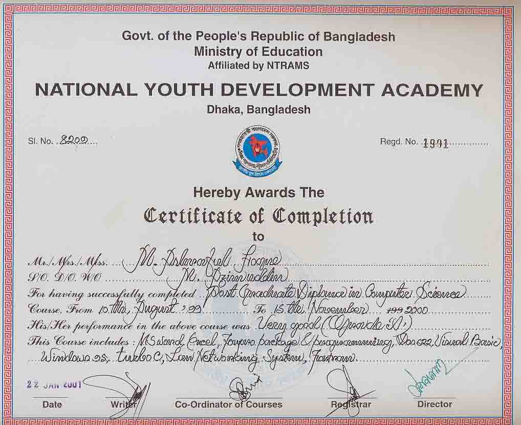 Ashraful hoque bayt i completed post graduate diploma in computer science course for 16 months in 1999 at national youth development academy mirpur dhaka xflitez Gallery