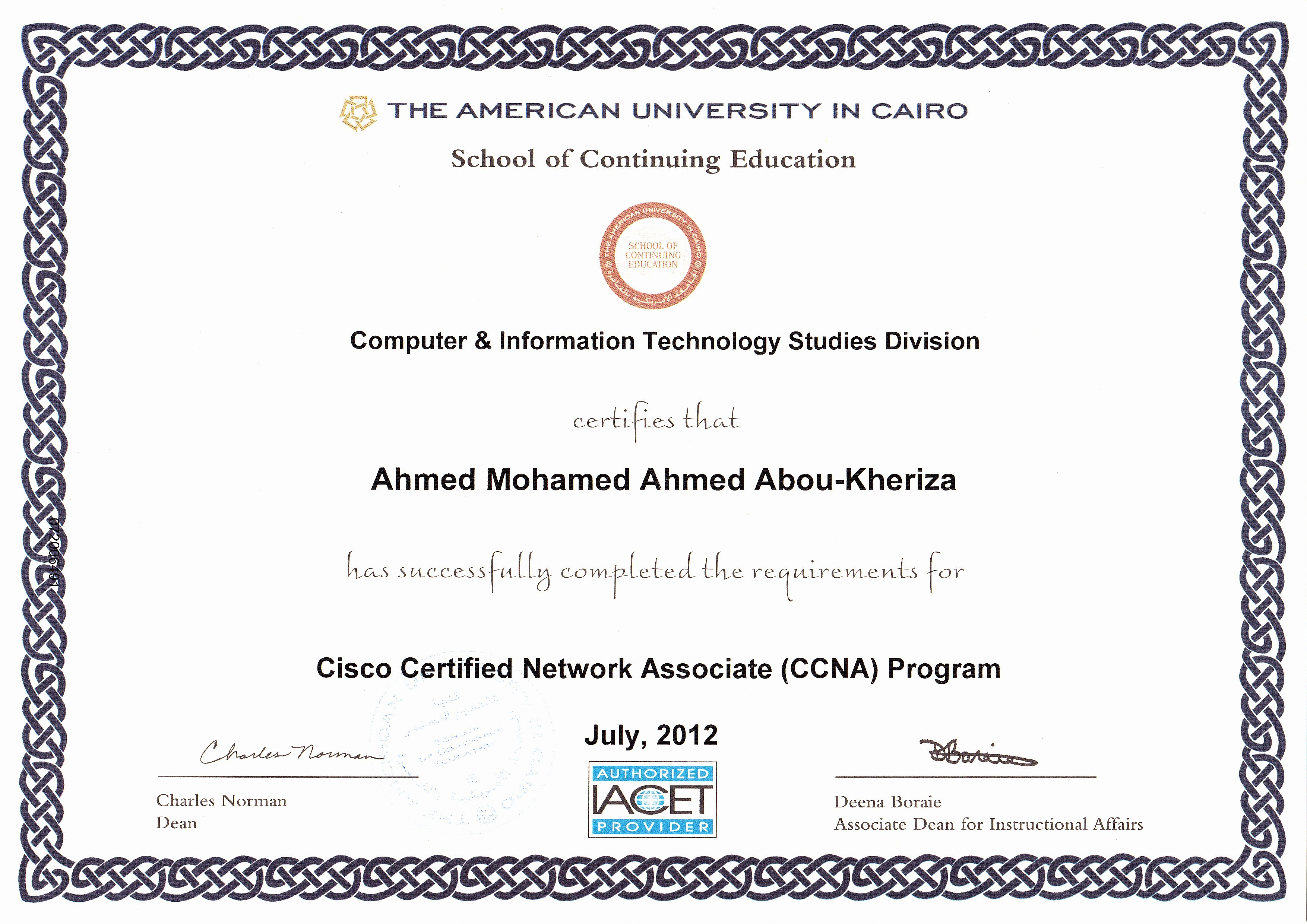 Ahmed mohamed ahmed abou kheriza bayt training institute the computer information studies division the american university in cairo xflitez Gallery