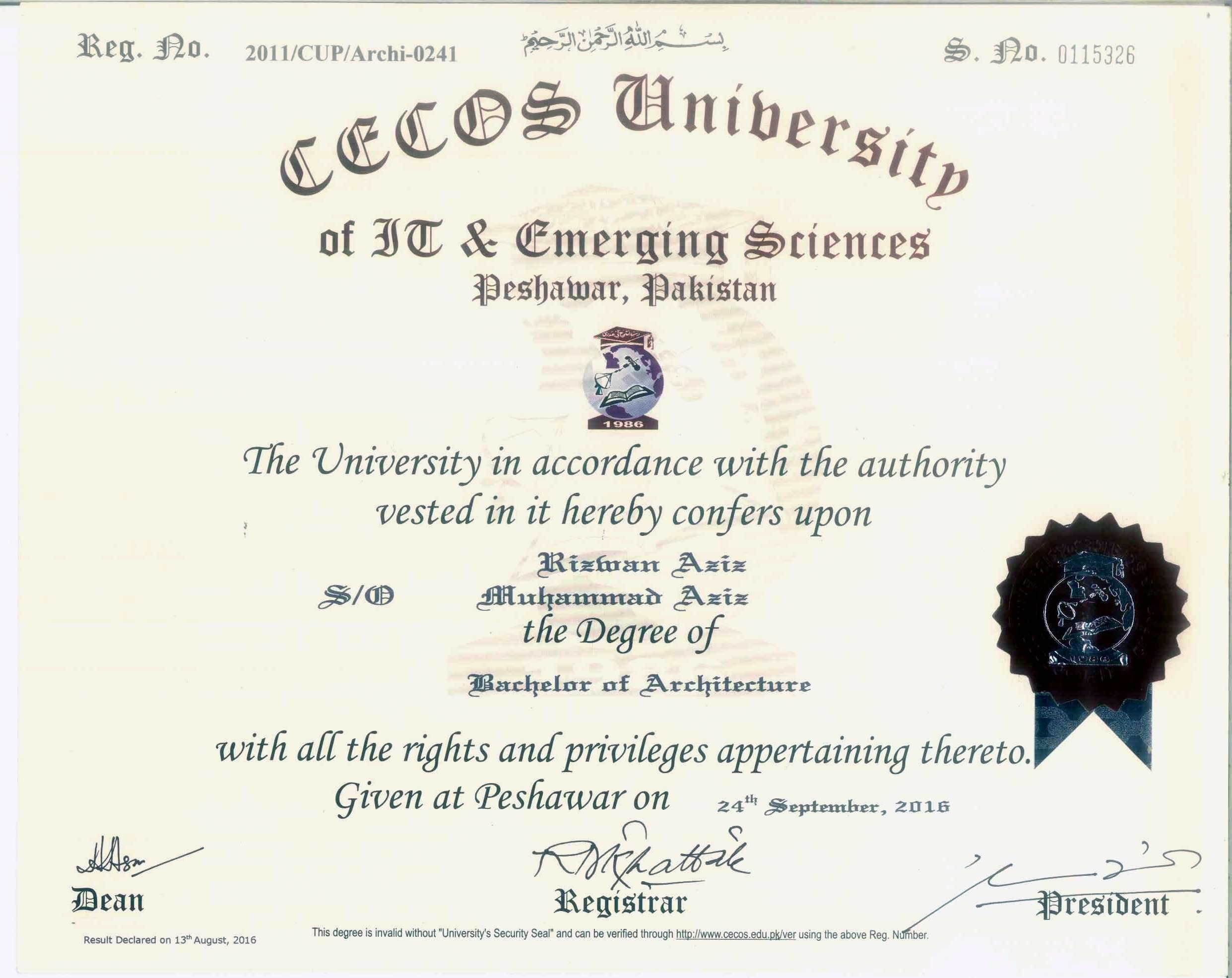 5 Years Bachelor Of Architecture | Gold Medalist