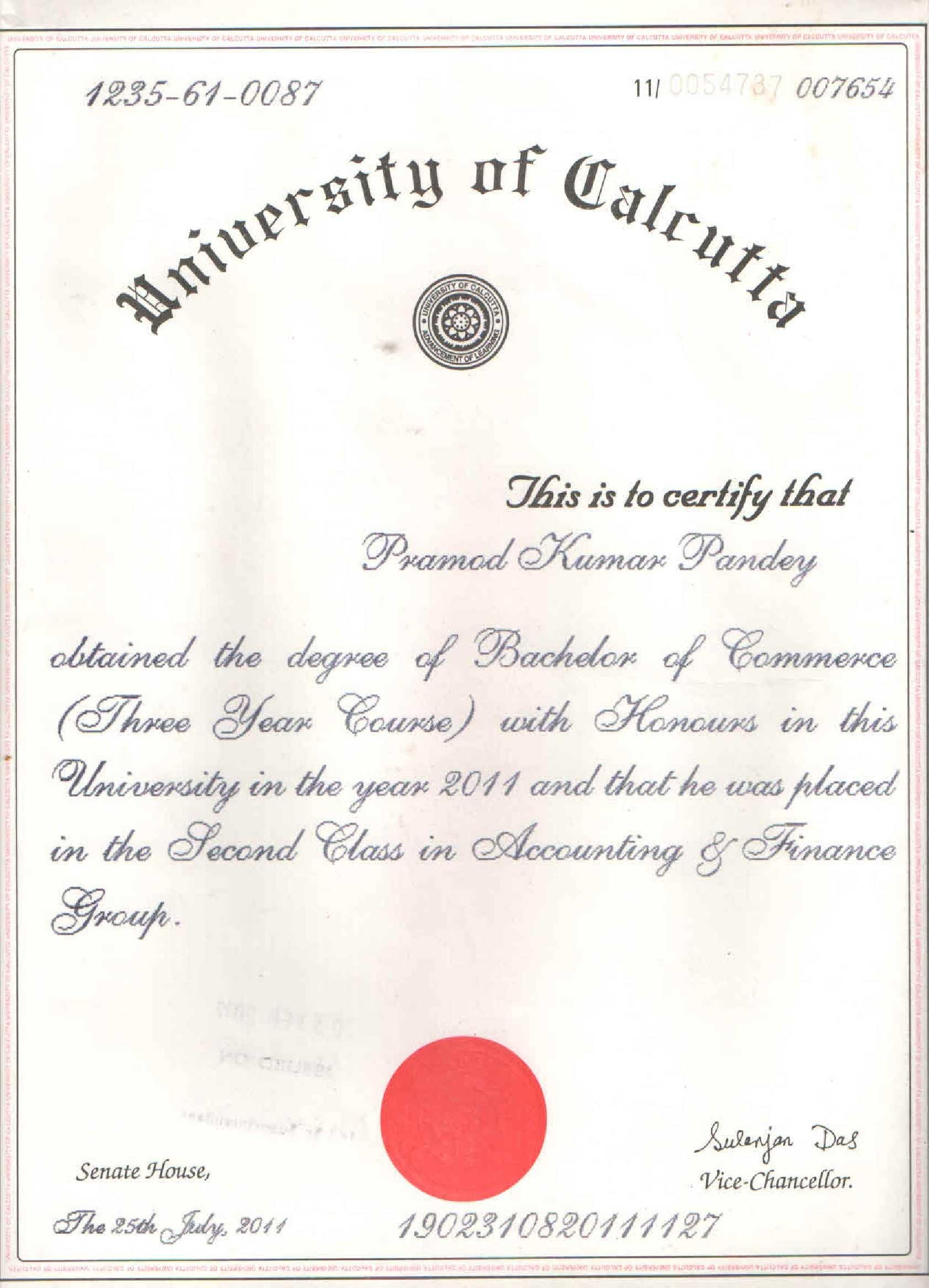 pramod kumar pandey bayt com b com hons accounting and finance t h k jain college calcutta university kolkata obtained the degree gpa 48 00% in 2011