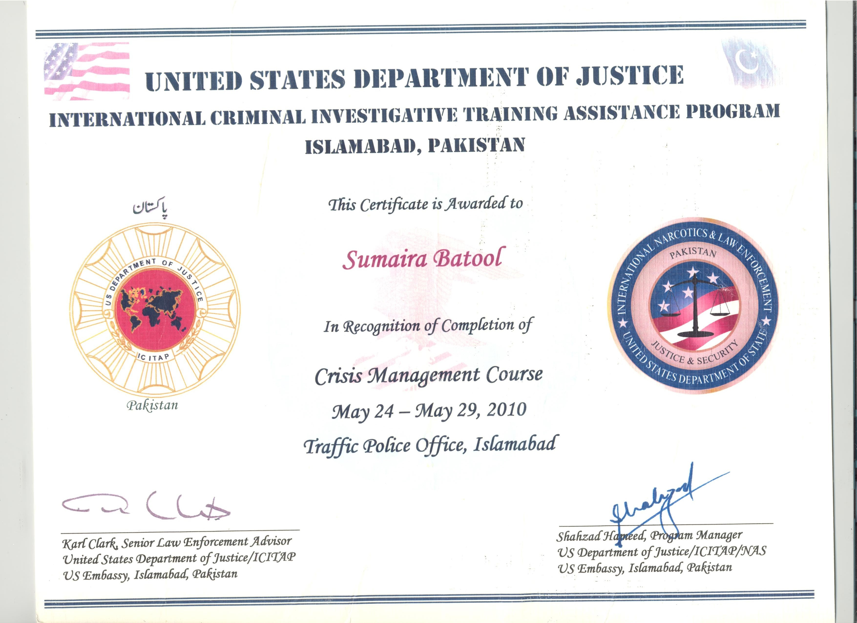 Sumaira batool bayt crisis management by us department of justice certificate xflitez Images