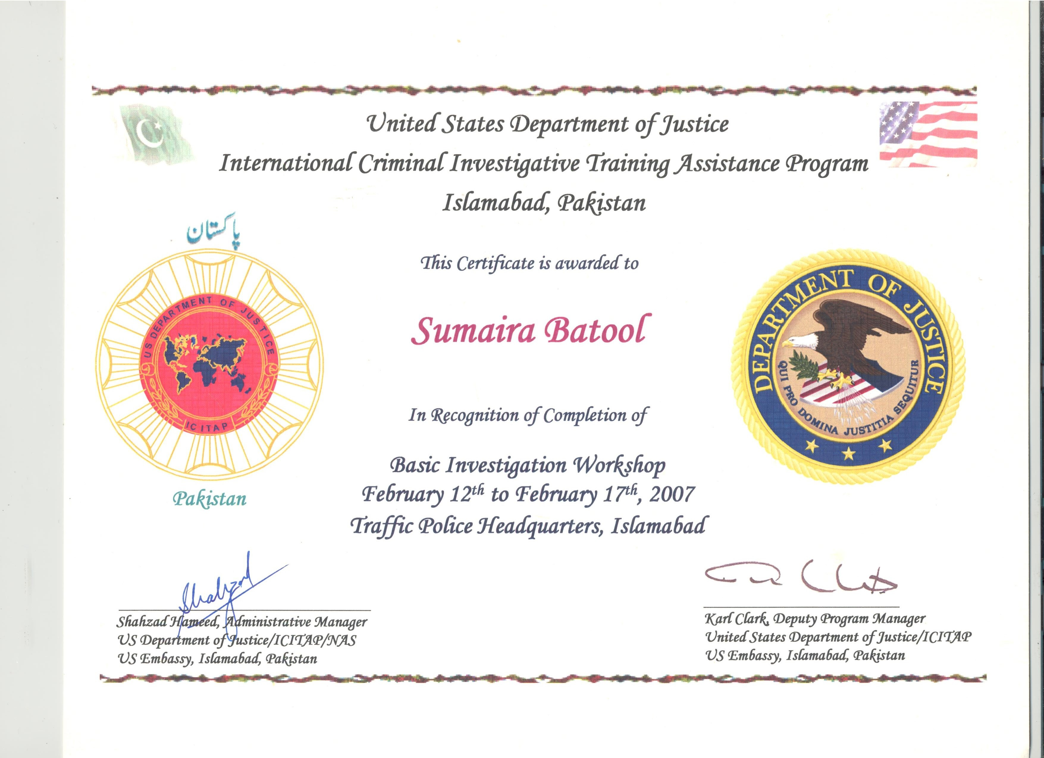 Sumaira batool bayt basic investigation by us department of justice certificate xflitez Images