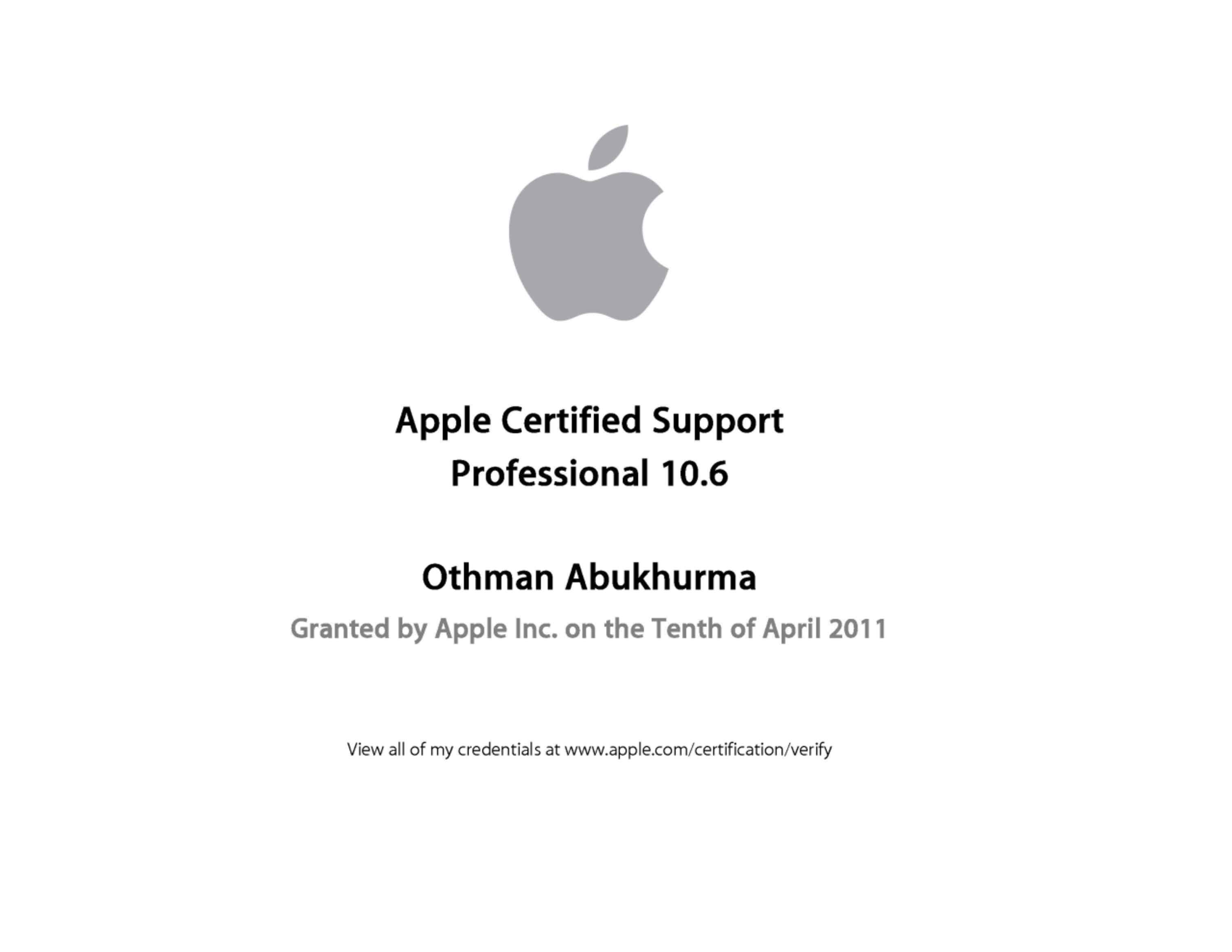 Othman abu karma bayt apple certified support professional acsp certificate 1betcityfo Gallery