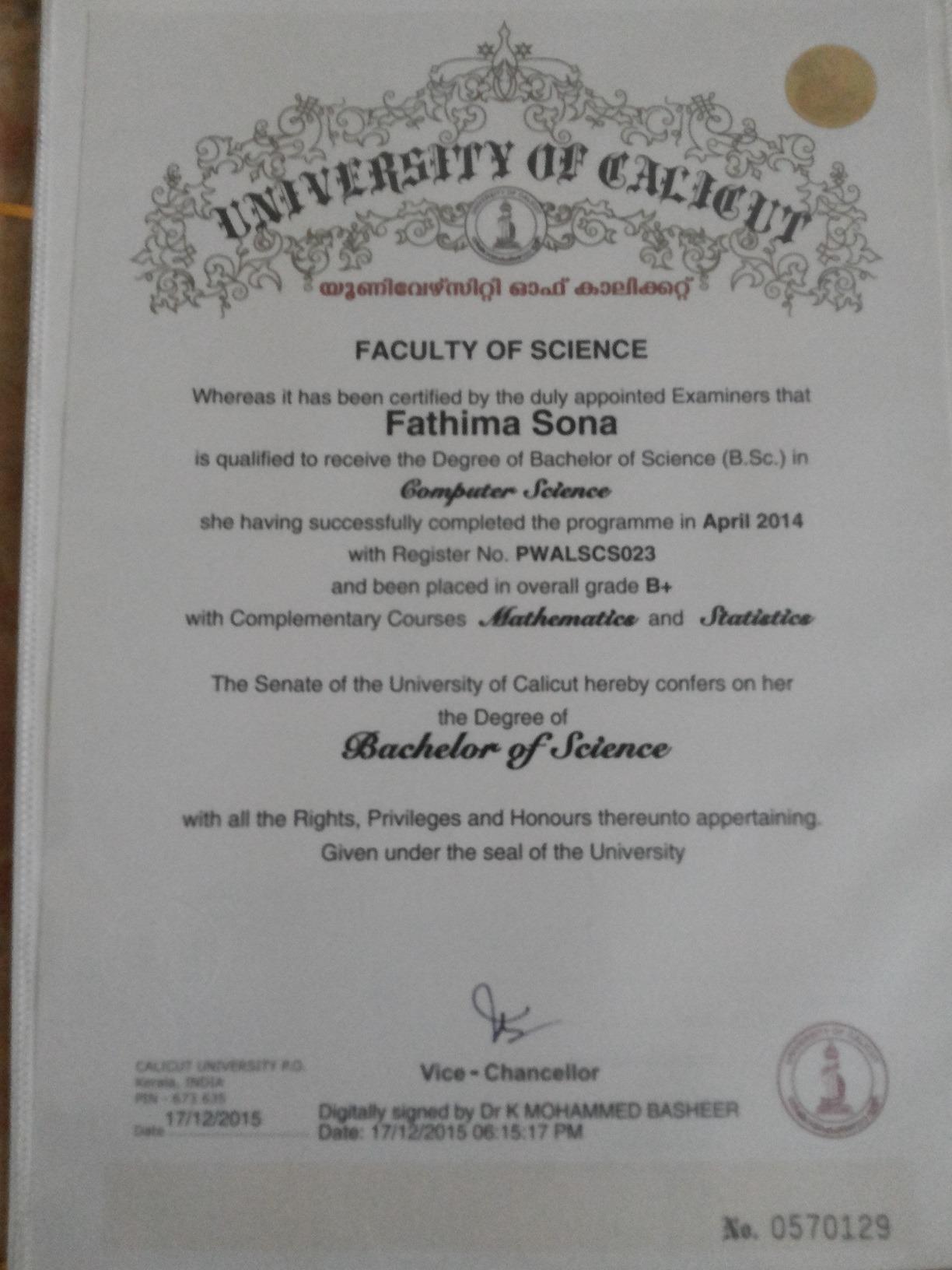 Fathima sona bayt university of calicut certificate xflitez Gallery