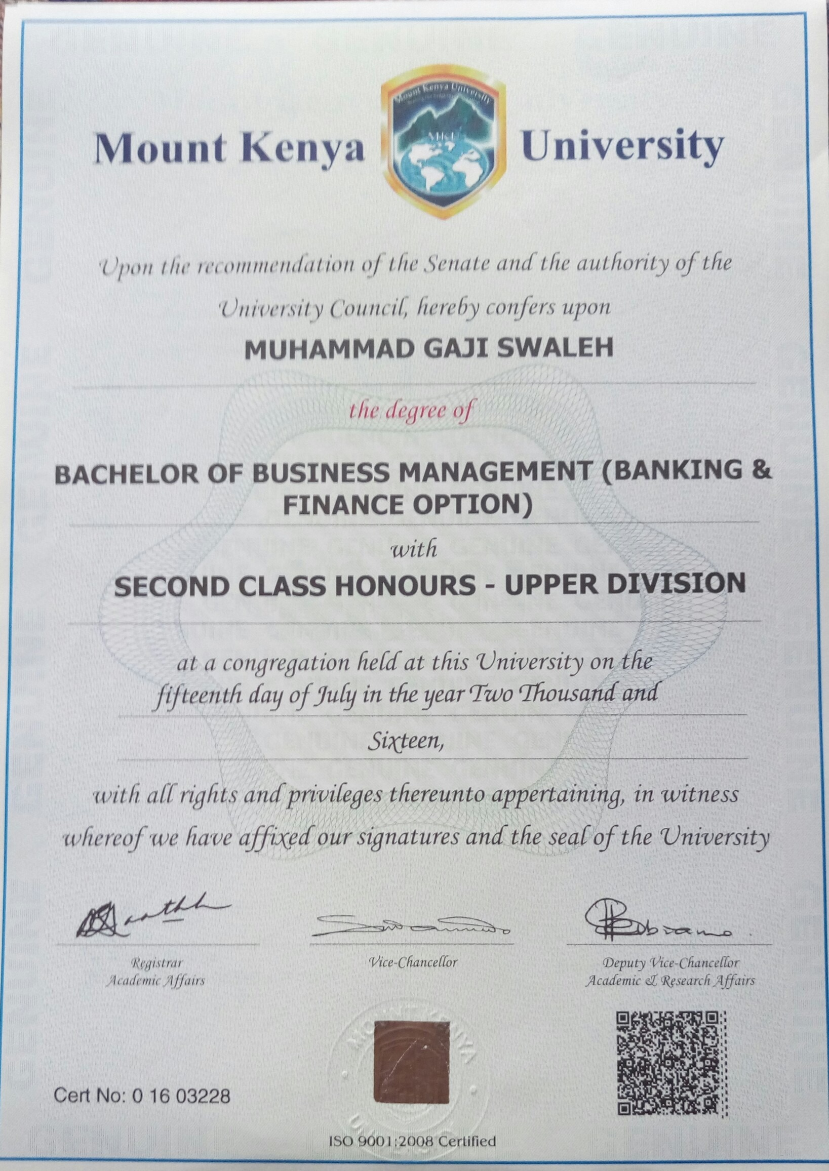 muhammad gaji swaleh bayt com i was awarded a degree of business management specialised in banking and finance under school of business and public management