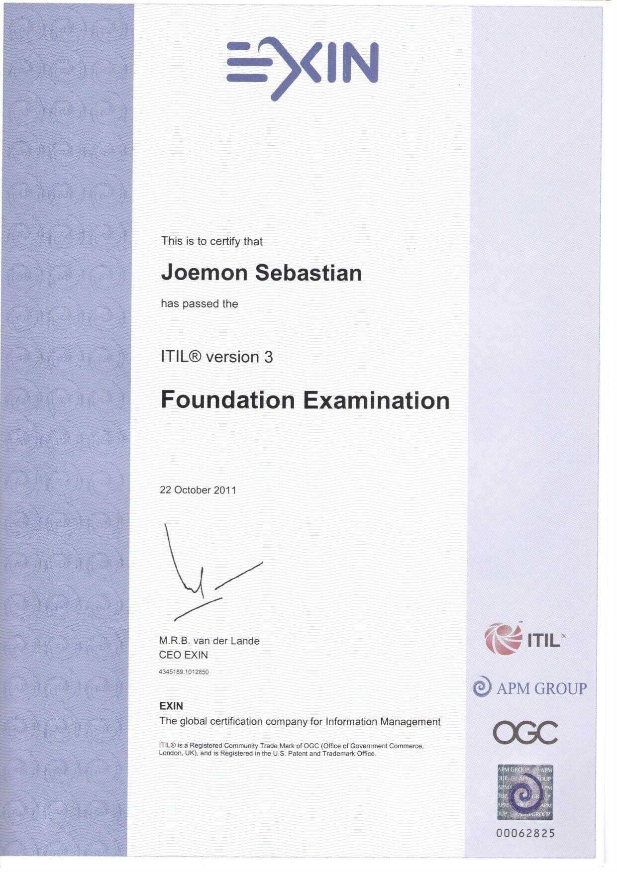 Joemon sebastian bayt itil v3 foundation certificate xflitez Gallery