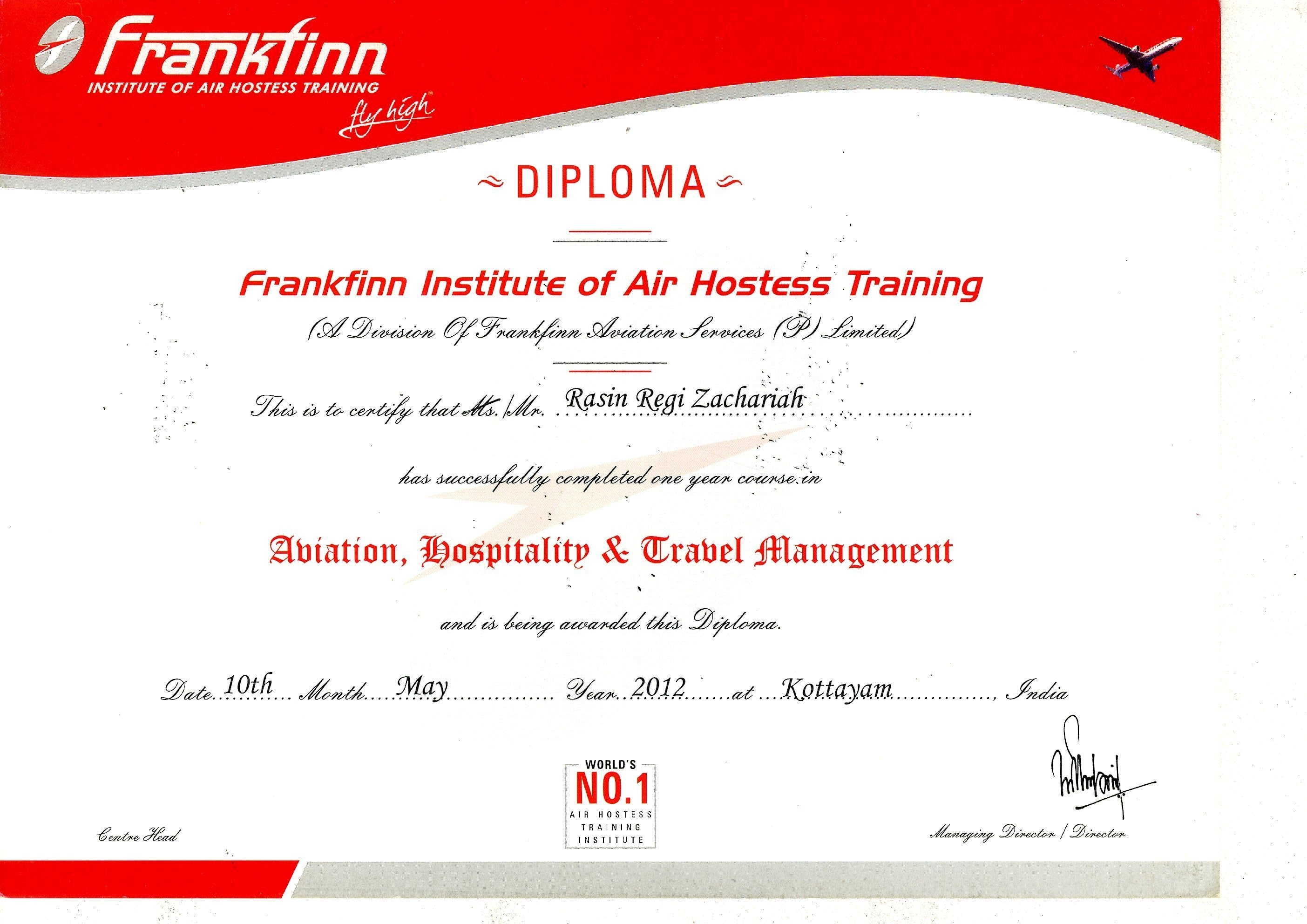 rasin reji zachariah bayt com training institute frankfinn institute of air hostess training