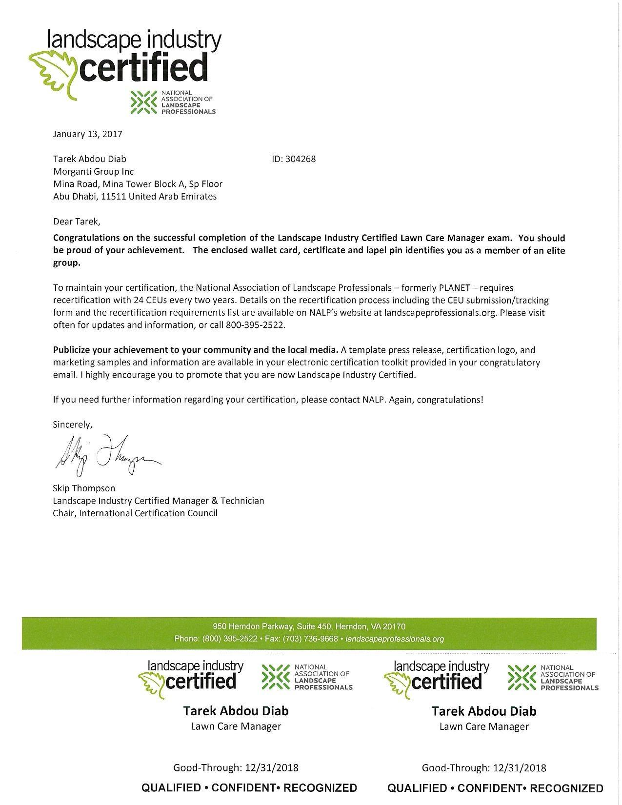 Tarek diab bayt landscape industry certified certificate xflitez Images