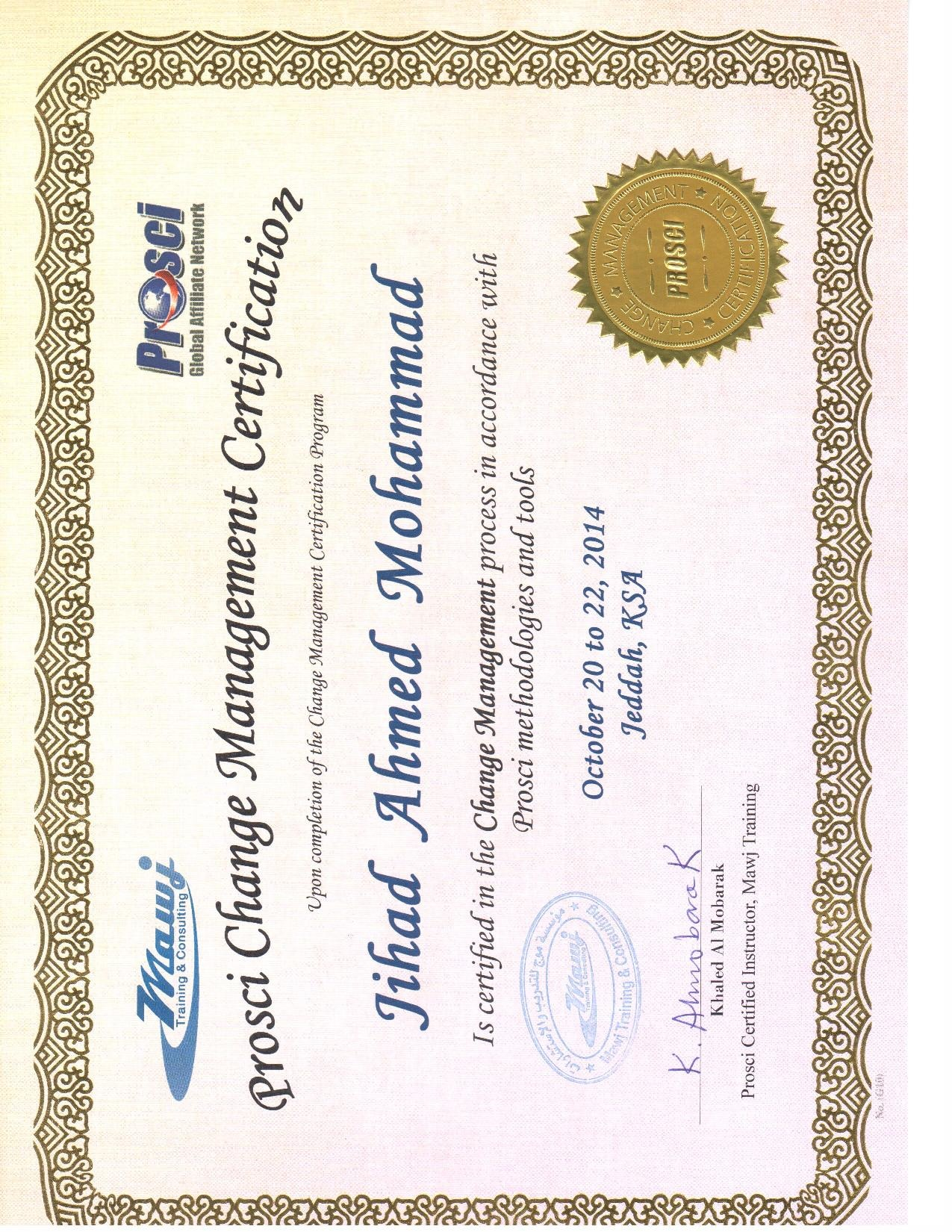 Jihad mohammad mba spp sphrishrm scp odcp cmc pmp bayt change management certification cmc certificate 1betcityfo Images