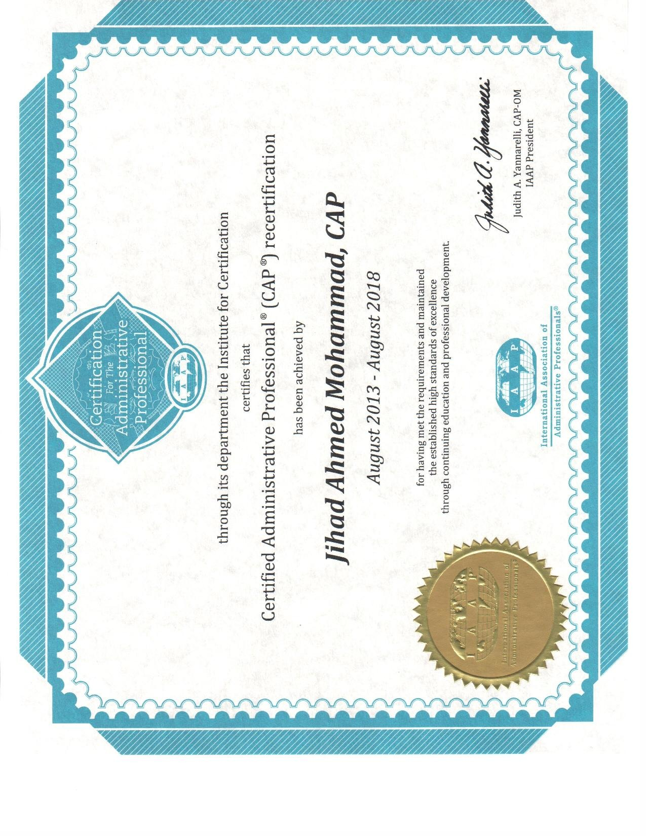 Jihad mohammad mba spp sphrishrm scp odcp cmc pmp bayt certified administrative professional cap certificate 1betcityfo Images