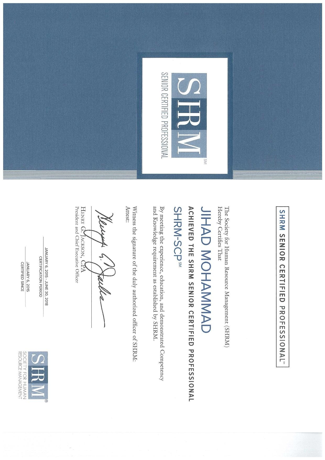 Jihad mohammad mba spp sphrishrm scp odcp cmc pmp bayt shrm senior certified professional certificate 1betcityfo Choice Image